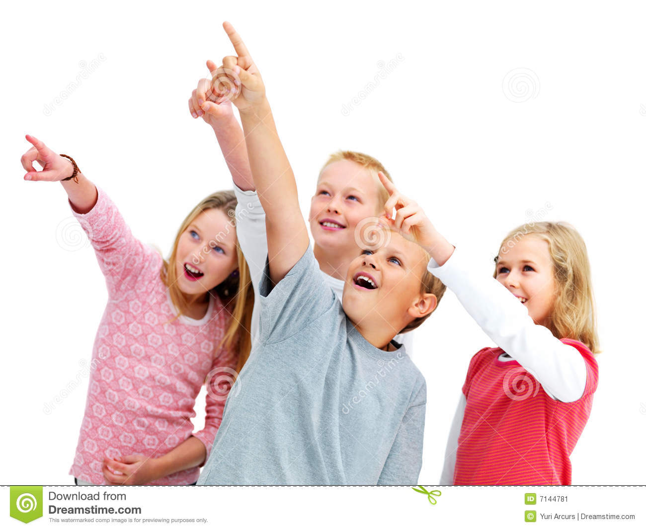 Stock Image: Wow look at that, kids pointing. Image: 7144781