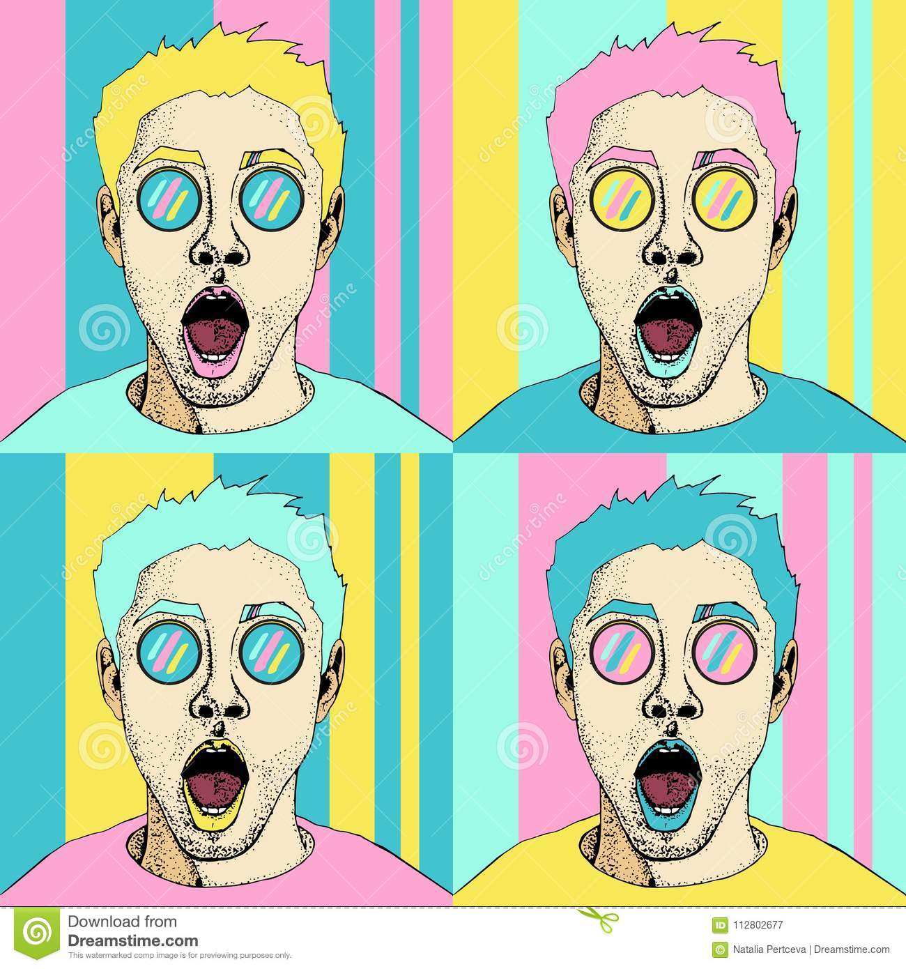 Wow pop art male face seamless pattern. surprised man with open mouth