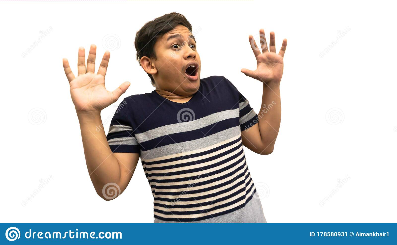 Wow And Shocked Face Expression Of Young Asian Malay Man With Both Hands Up And Opened Mouth Stock Image Image Of Amazed Background 178580931