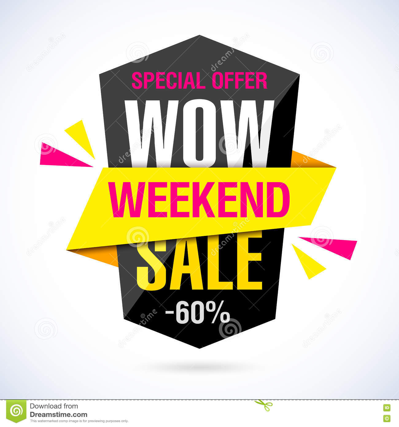 Weekend Discount: Wow Weekend Sale Banner Stock Vector. Illustration Of Sign