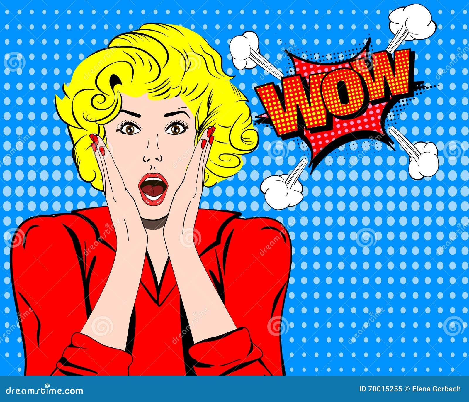 Wow Wow πρόσωπο Wow έκφραση Έκπληκτη γυναίκα με το ανοικτό στοματικό διάνυσμα Λαϊκή γυναίκα κατάπληξης τέχνης Wow συγκίνηση Wow κ