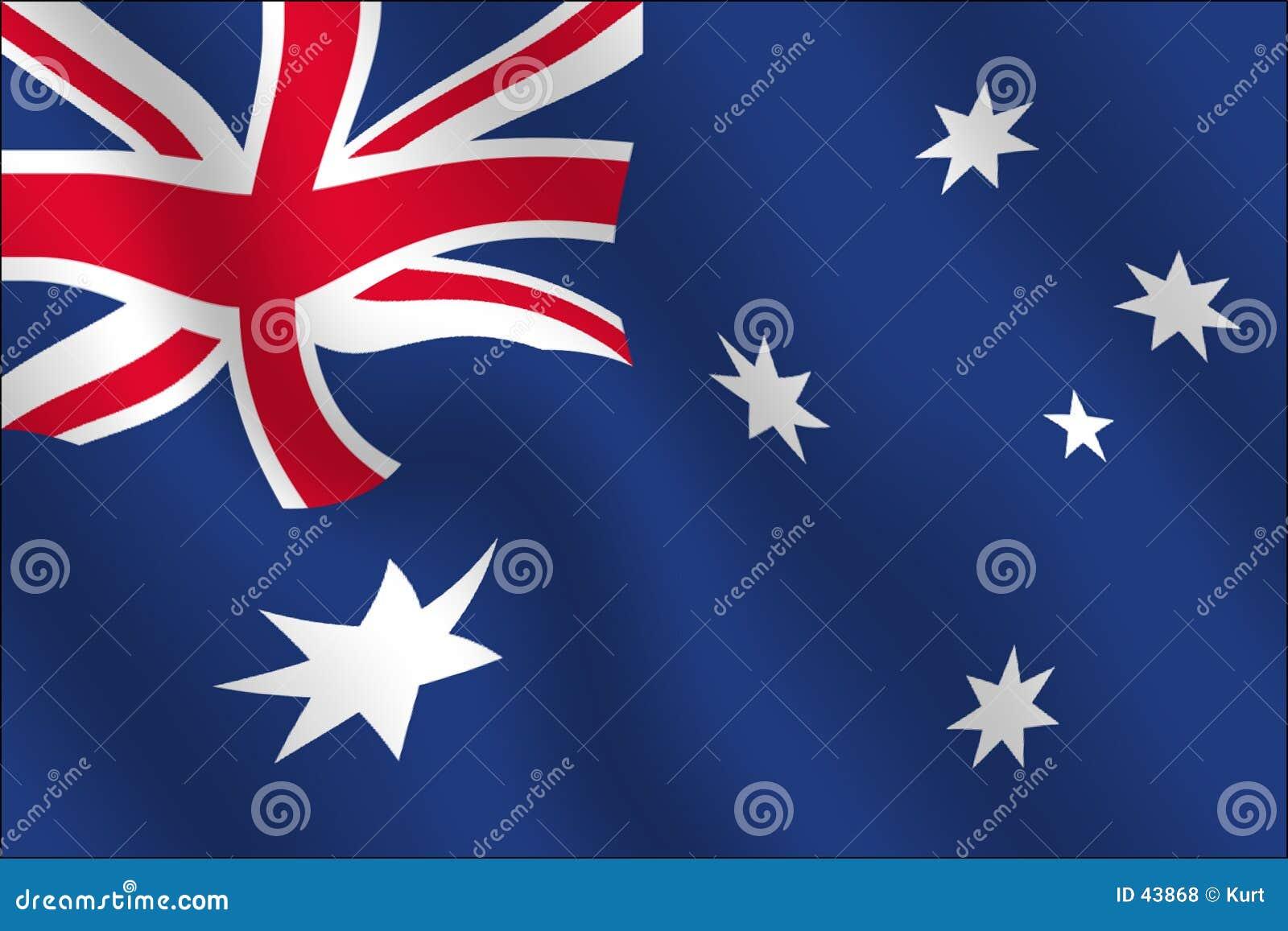 Wpływ australijskiego flagi machał