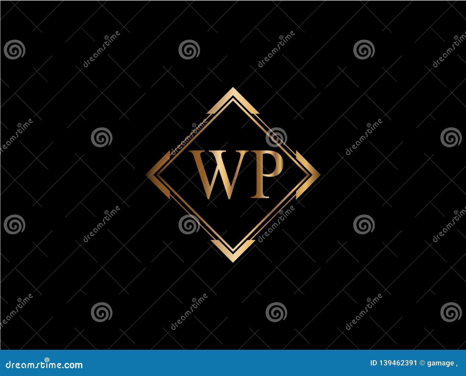Wp-Anfangsdiamantform Goldfarbe neuerer Logo Design