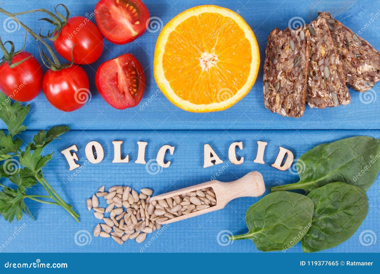Wpisowy folic kwas z zdrowym odżywczym jedzeniem jako źródło kopaliny, witamina B9 i żywienioniowy włókno,
