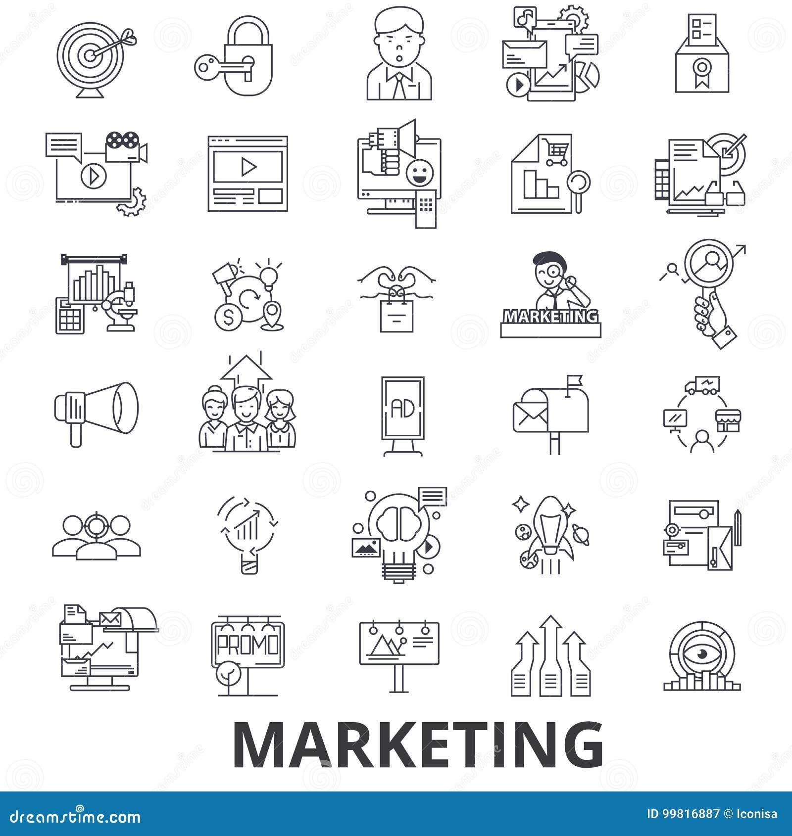 Wprowadzać na rynek, strategia marketingowa, reklama, biznes, oznakujący, ogólnospołeczni środki wykłada ikony Editable uderzenia