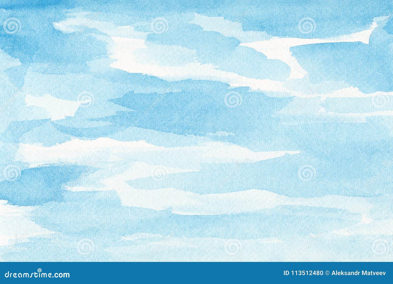 Wręcza akwareli niebo chmury i, abstrakcjonistyczny akwareli tło, skanująca ilustracja