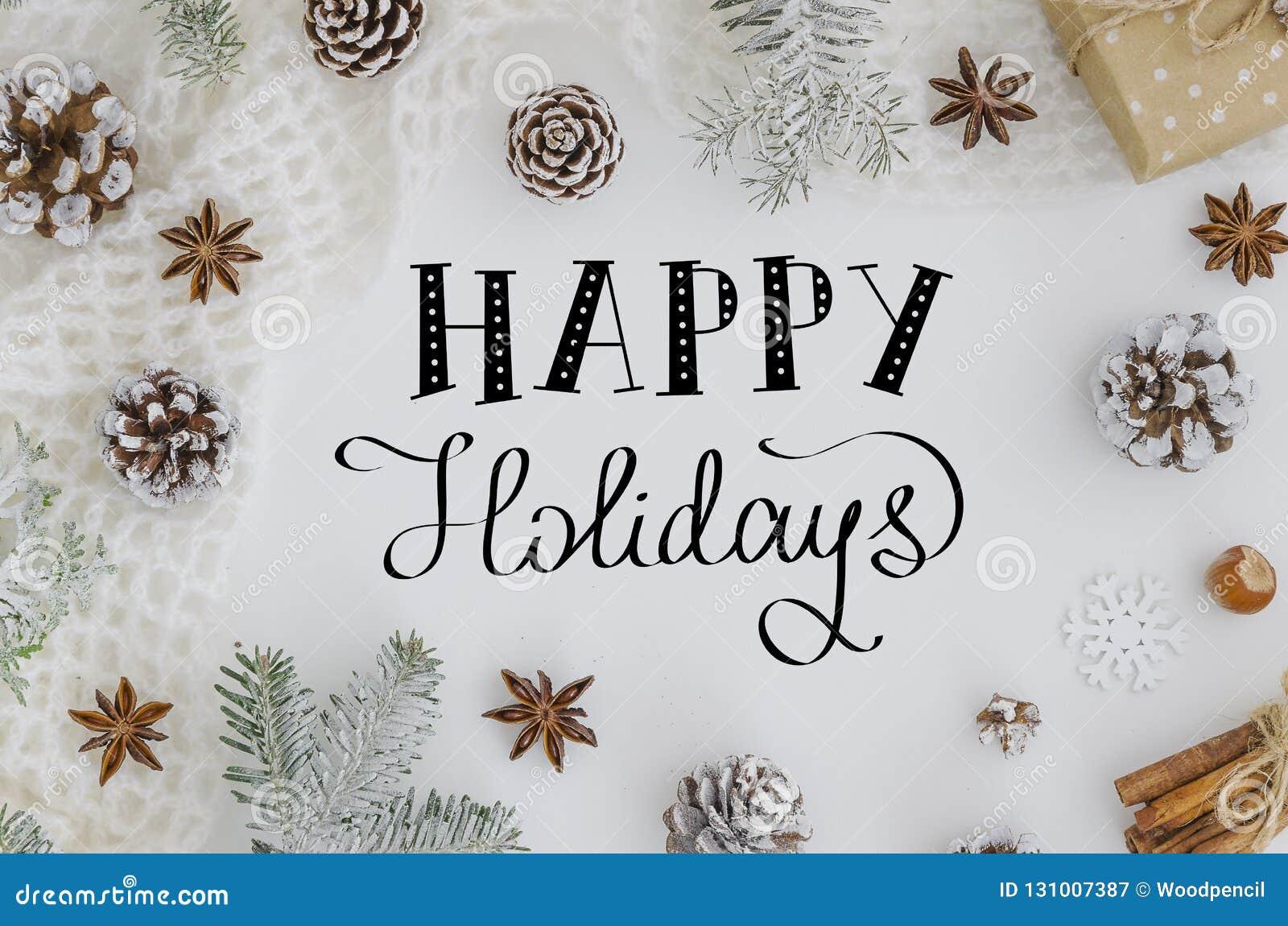 Wręcza literowanie kartce z pozdrowieniami Szczęśliwych wakacje Na białym tle karciany bożego narodzenia powitanie Święta dekoruj