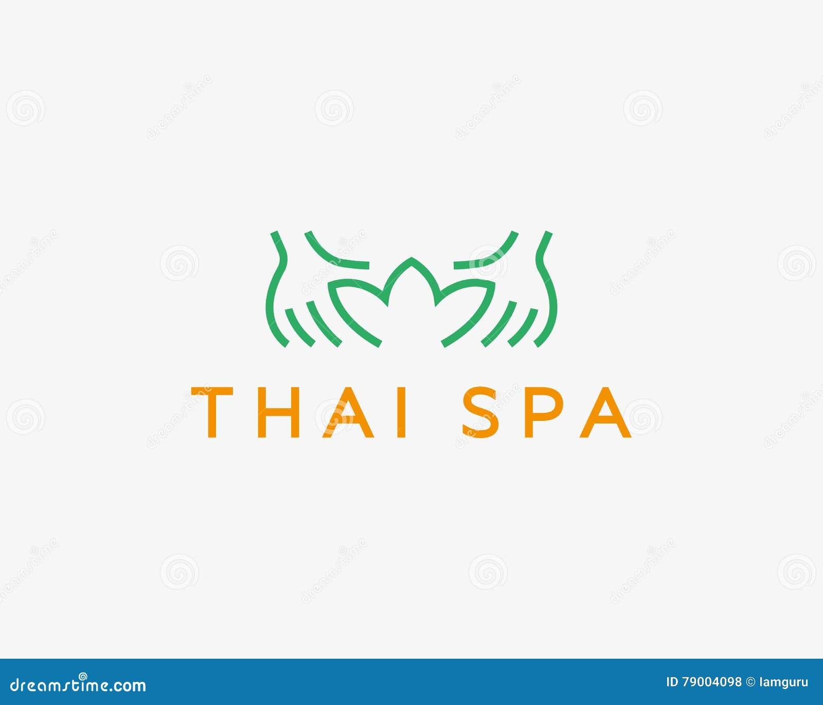 Wręcza lotosowego zdroju kurortu wektoru logotyp Kreatywnie piękno masażu salonu loga projekt