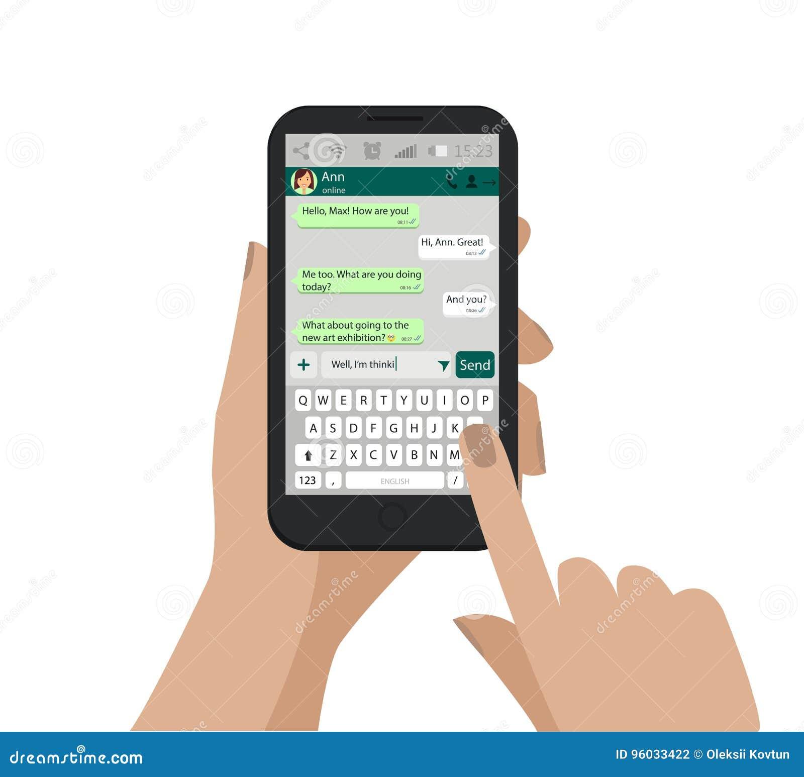 Wręcza mienia smartphone i pisze wiadomości w ogólnospołecznej sieci, dotykający ekran wektor