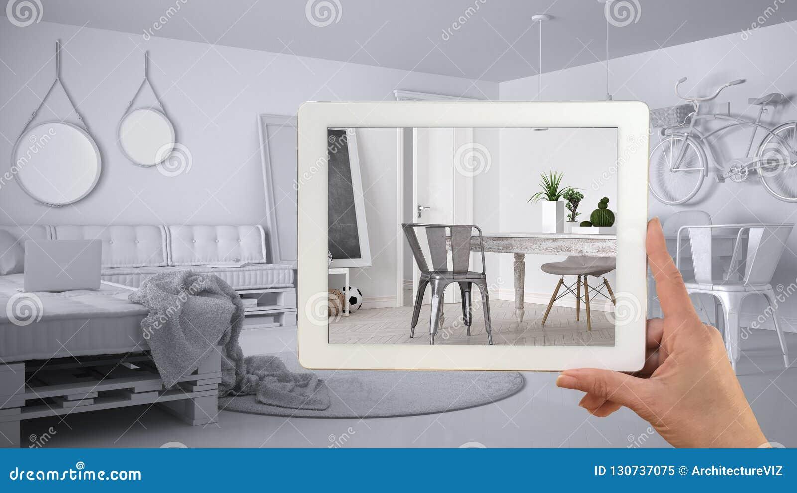 Wręcza mienie pastylkę, symuluje projektów produkty w reala domu, AR zastosowanie, meblarskiego i wewnętrznego, architekta projek