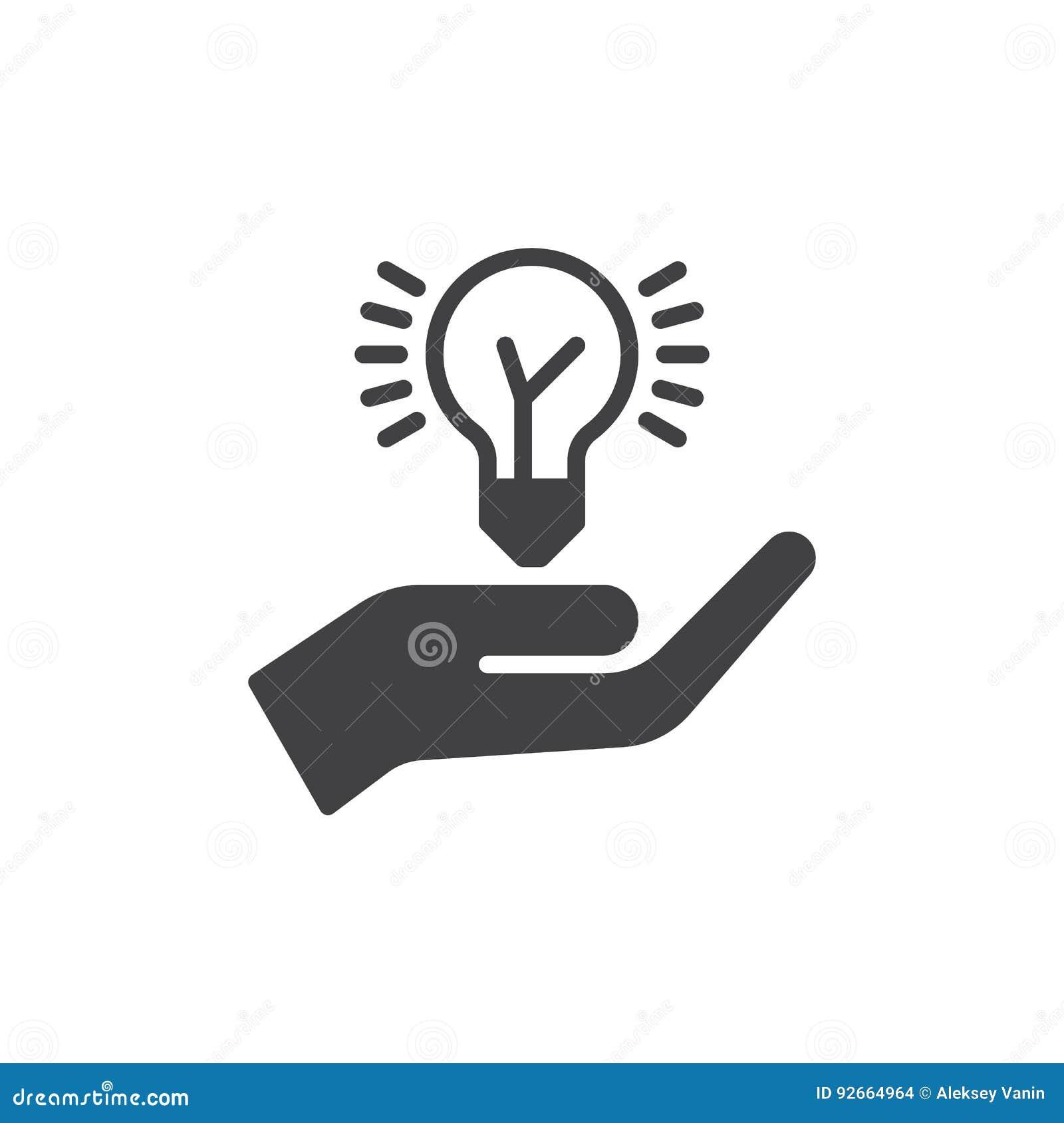 Wręcza mienie pomysłu żarówki ikony wektor, wypełniający mieszkanie znak, stały piktogram odizolowywający na bielu Pomysł dzieli