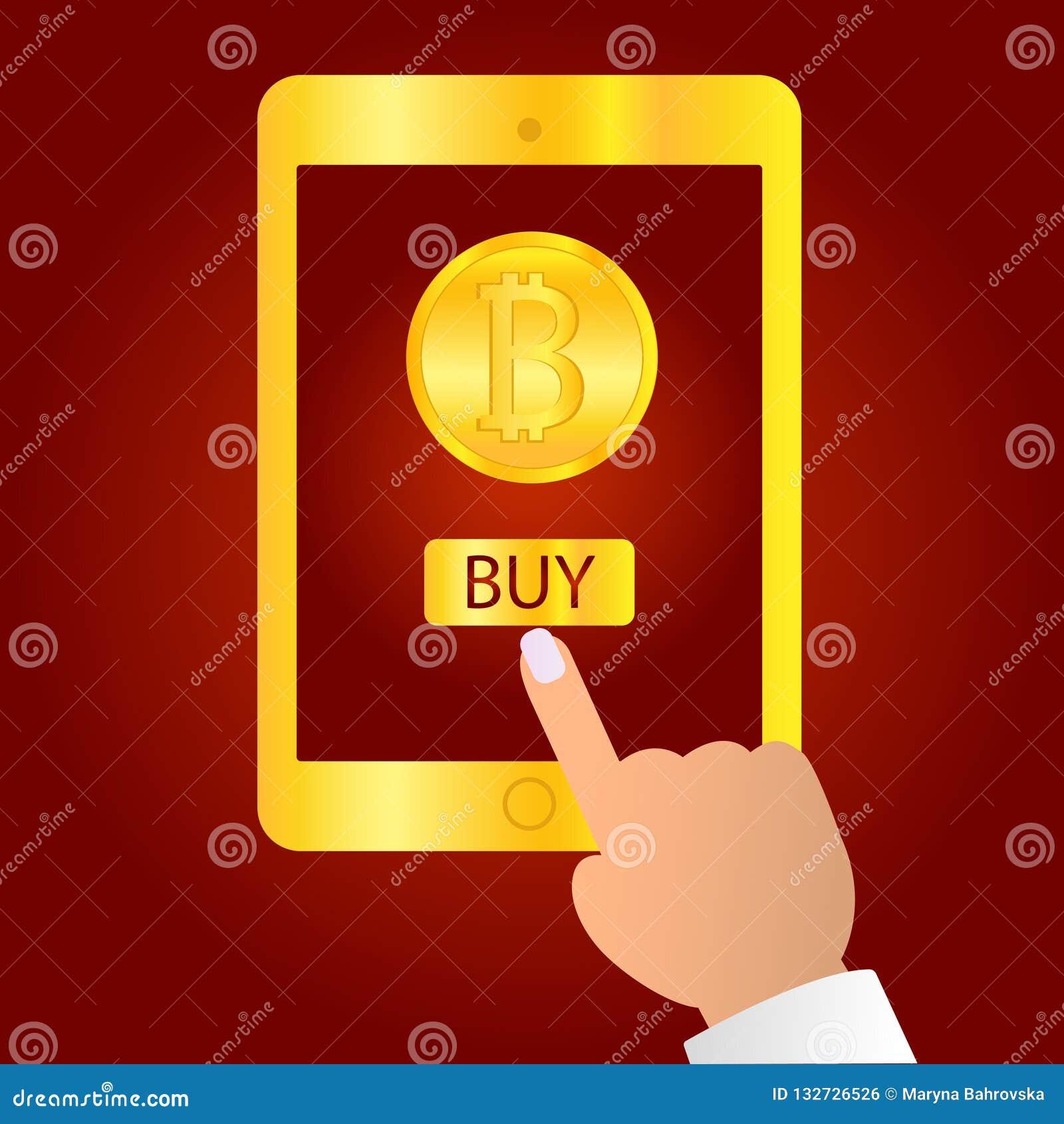 Wręcza mieniu złocistego pastylka przyrząd odizolowywającego na czerwonym tle Pastylka na istot ludzkich rękach z bitcoin palcem