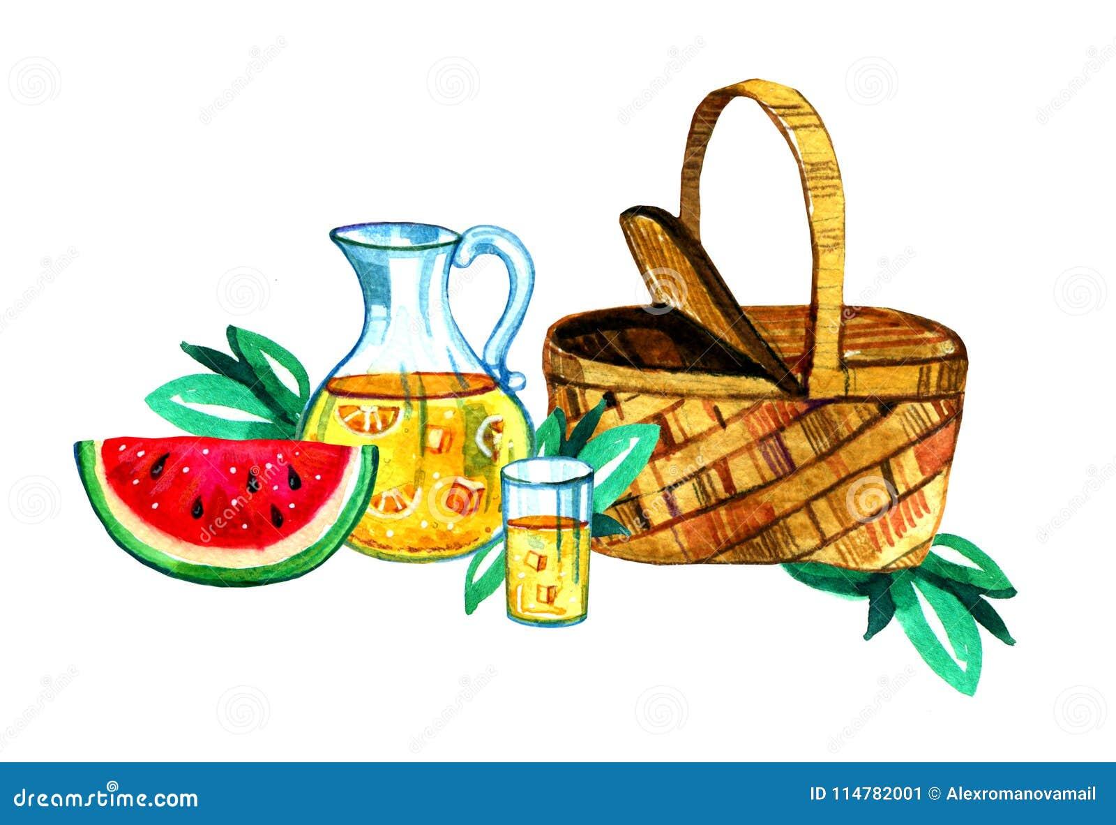 Wręcza patroszoną akwareli ilustrację z koszem, lemoniadą i arbuzem, Pinkin, lato je out i grill,