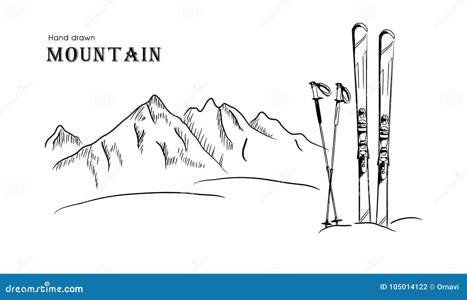 Wręcza patroszoną górę i nartę graficzna czarna bielu krajobrazu wektoru ilustracja