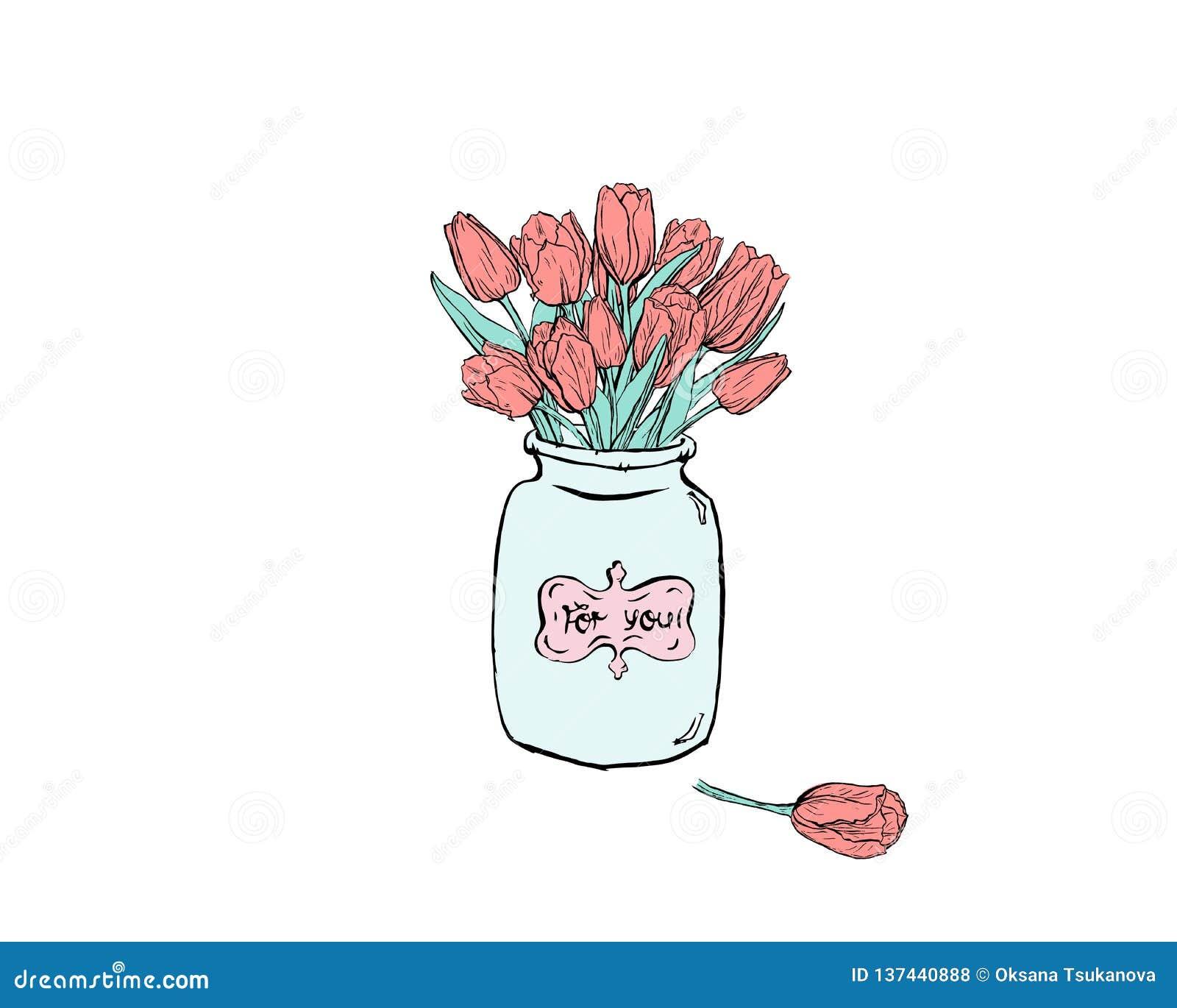Wręcza patroszoną płaską ilustrację z isplated błękitnymi tulipanami na białym backround i wazą