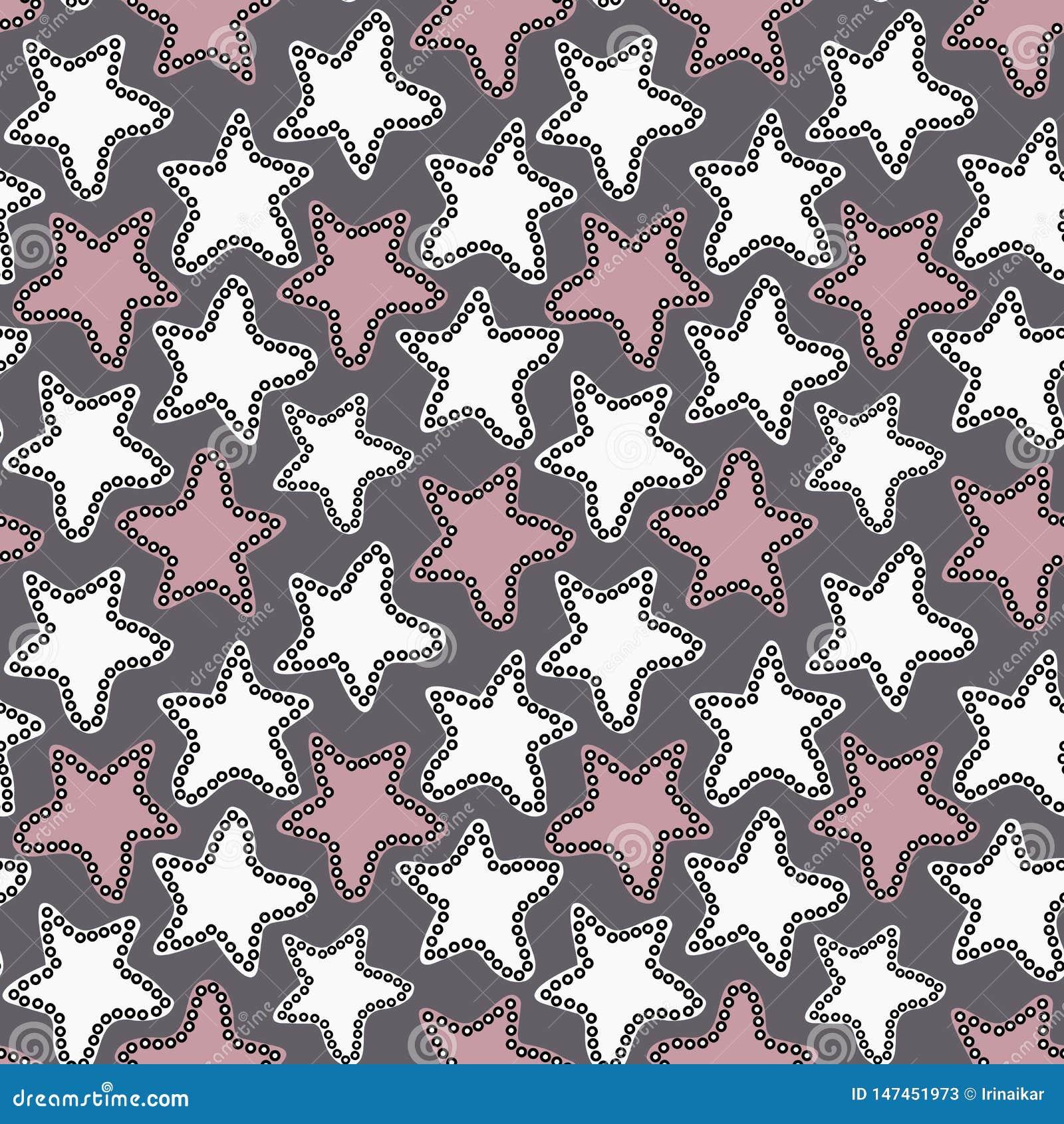 Wręcza patroszone białe i różowe gwiazdy na zmroku - szary tło