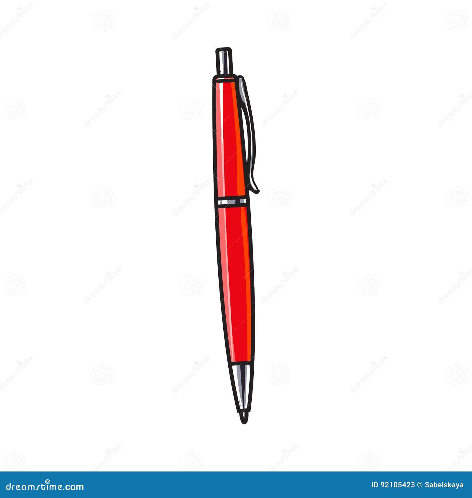 Wręcza patroszonego czerwonego balowego punktu pióro, biurowa dostawa, pisze akcesorium