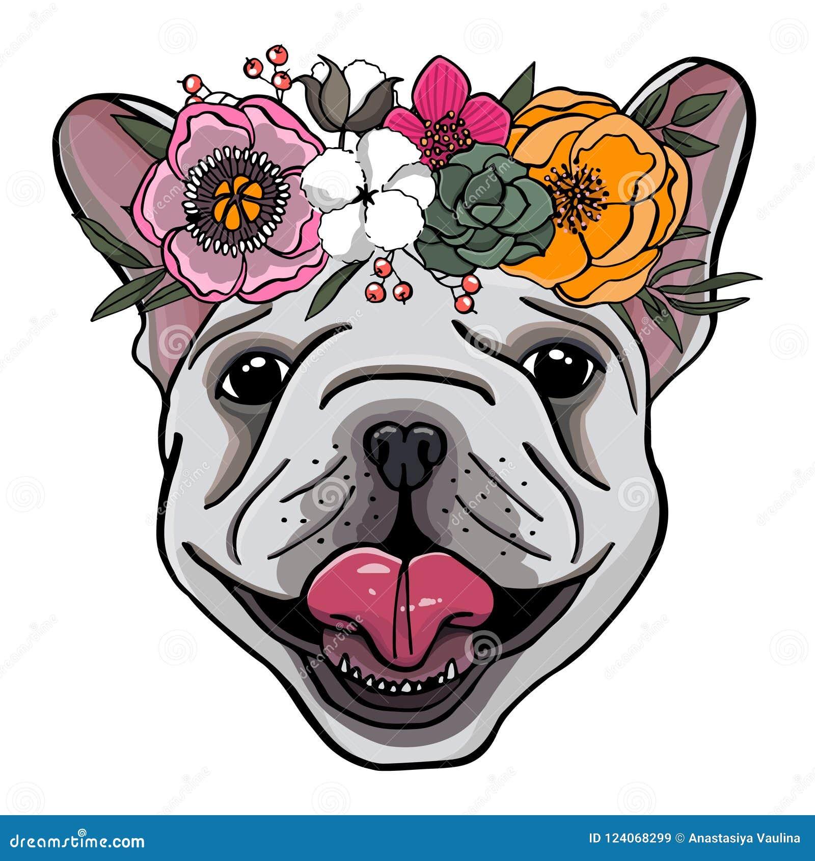 Wręcza patroszonego portret francuski buldog z wiankiem kwiaty