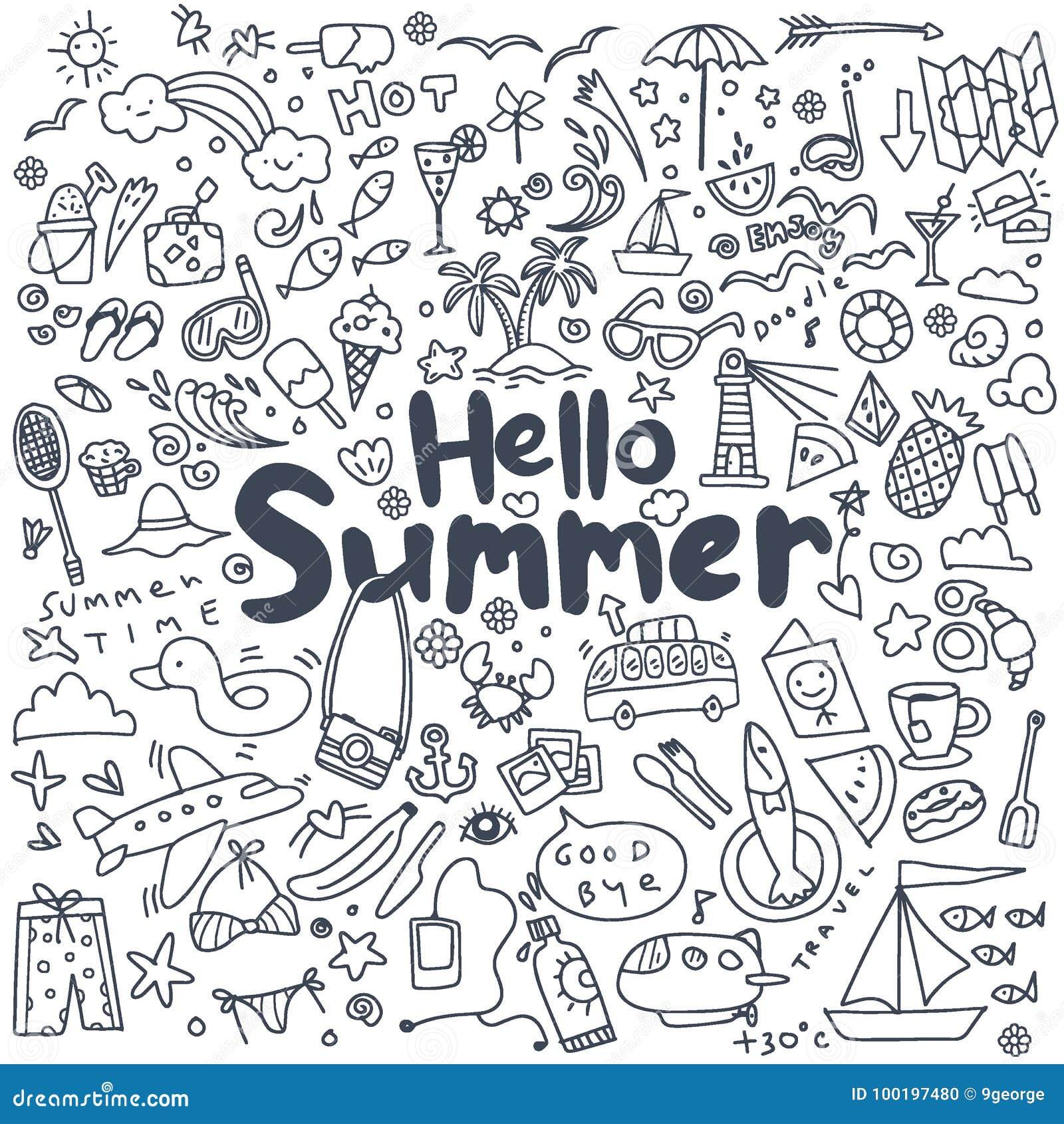 Wręcza patroszony wektorowy ilustracyjnego ustawiającego lato elementy Ręki drawi