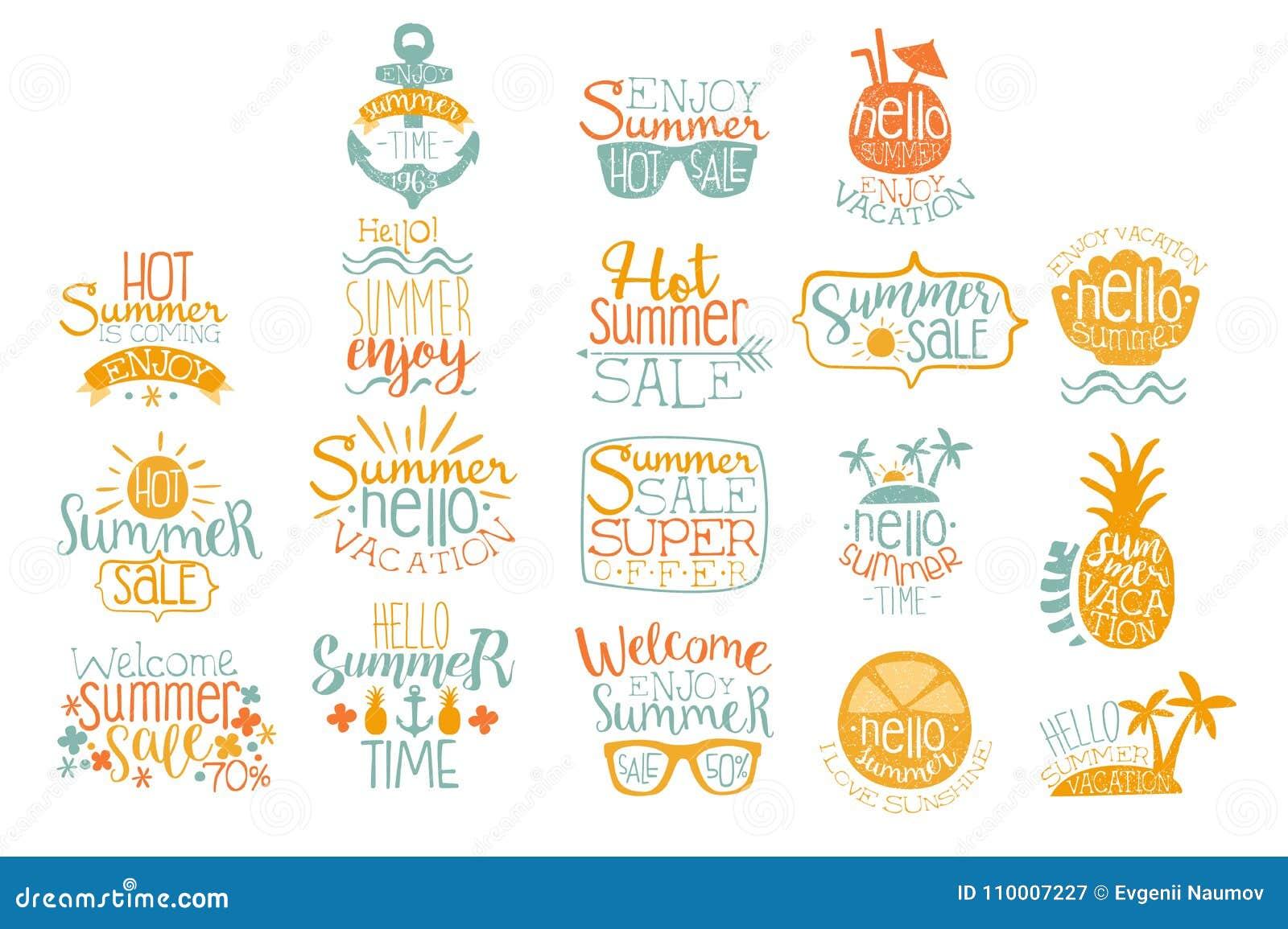 Wręcza patroszonych elementy dla lato loga kaligraficznego projekta Plażowy wakacje i gorący sprzedaży pojęcia Literowanie z kokt