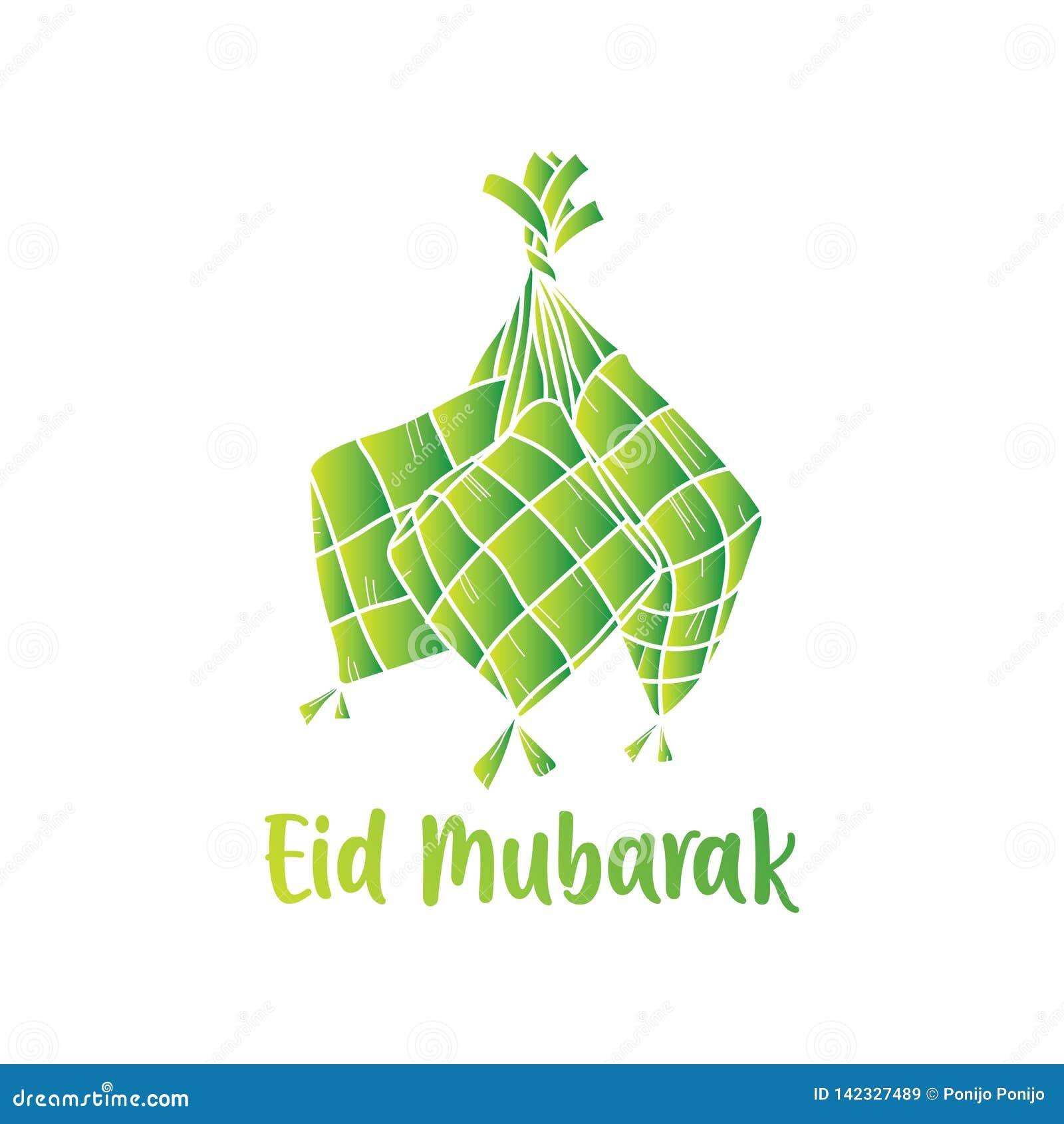 Wręcza rysunkowego KetupatIndonesian jedzenie dla Eid Mubarak powitania