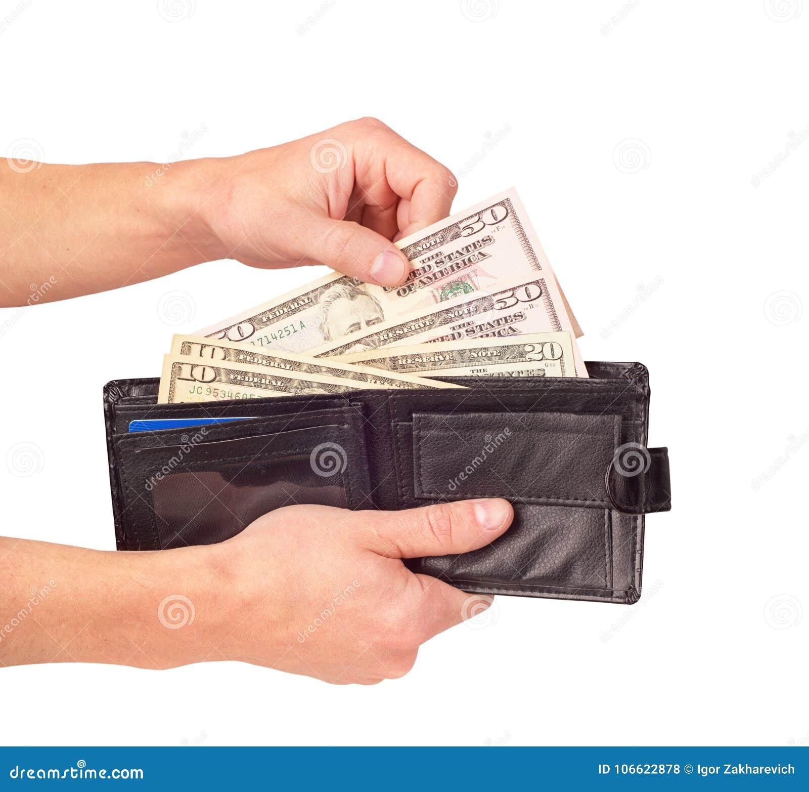 Wręcza stawiać dolary w portflu odizolowywającym na białym tle