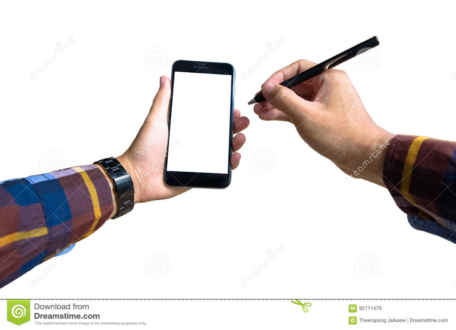 Wręcza trzymać nowożytnego smartphone z modniś koszula i wskazywać