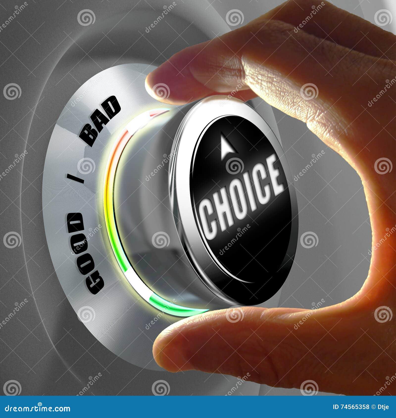 Wręcza wybierać dobrego lub złego wybór Pojęcie świadczenia 3 d
