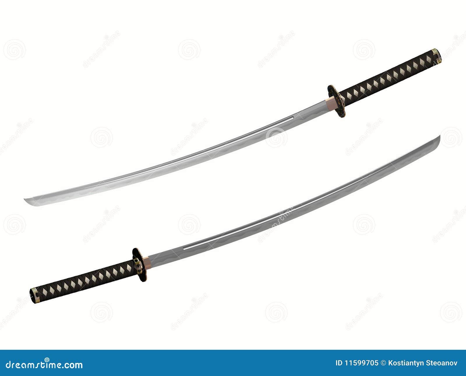 Wręczający japoński katana samurajów kordzik dwa