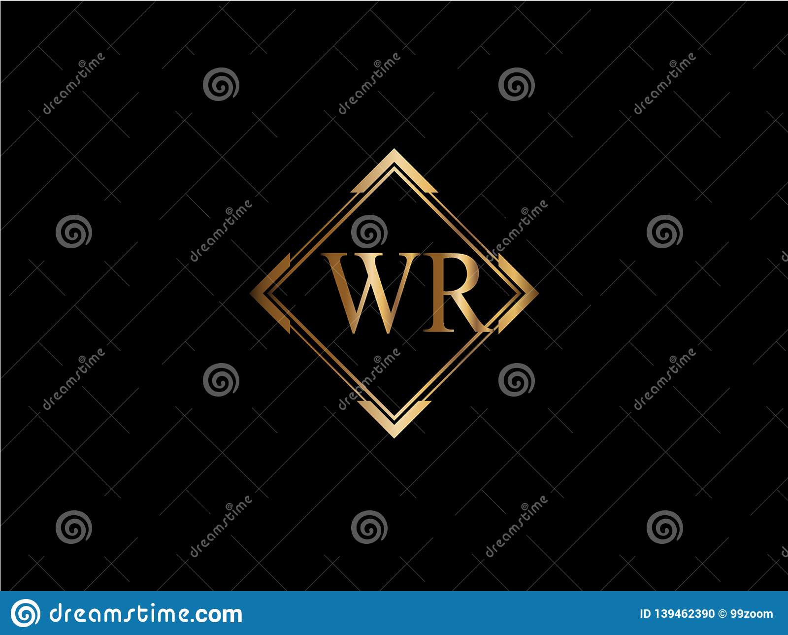 WR-Anfangsdiamantform Goldfarbe neuerer Logo Design