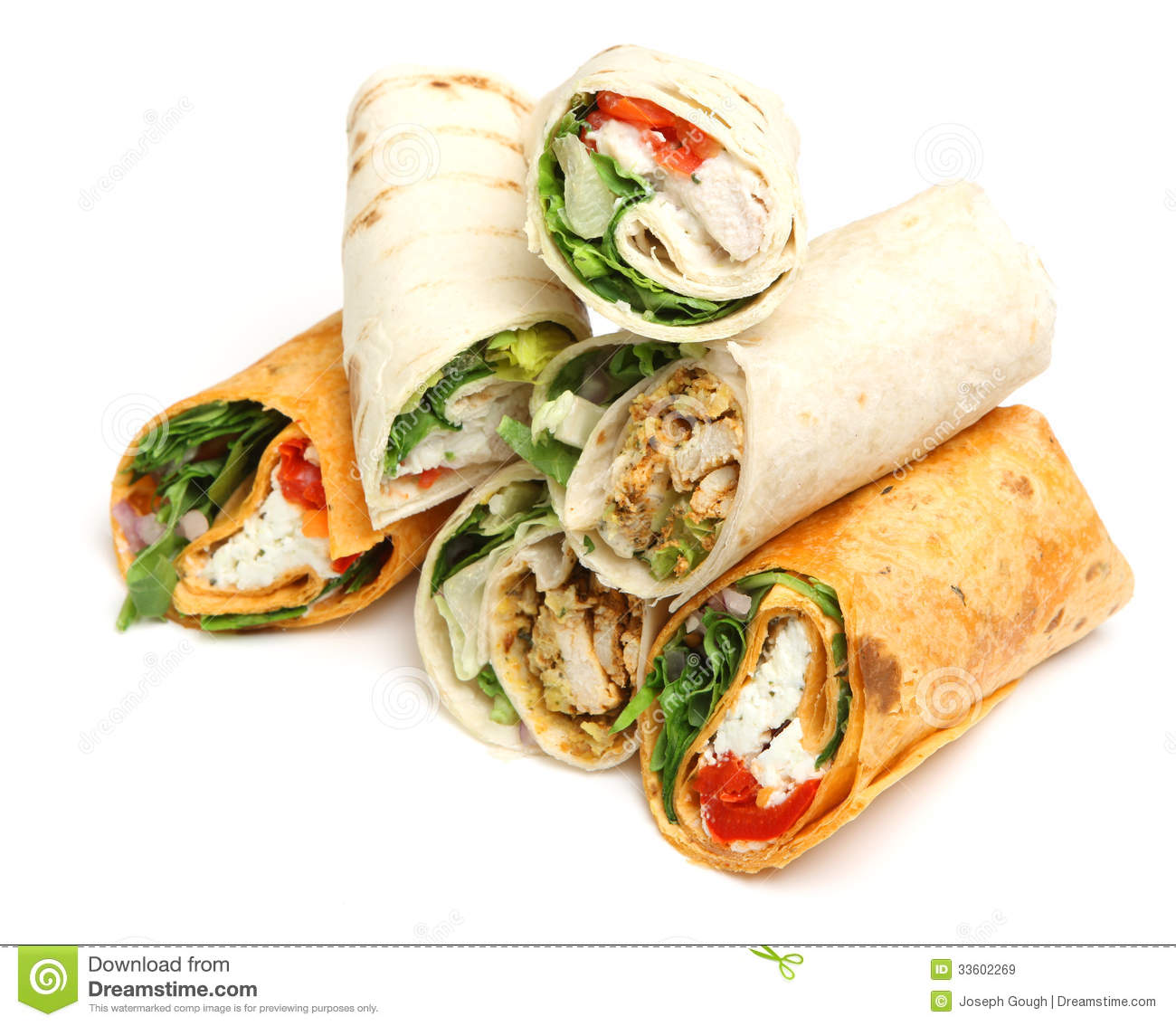 Wrap Sandwiches stock image. Image of isolated, healthy ...