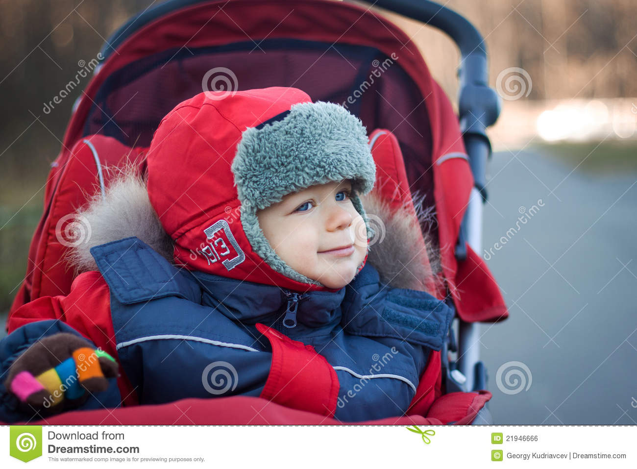 Wrapped Baby Boy In Red Stroller Stock Photo Image 21946666