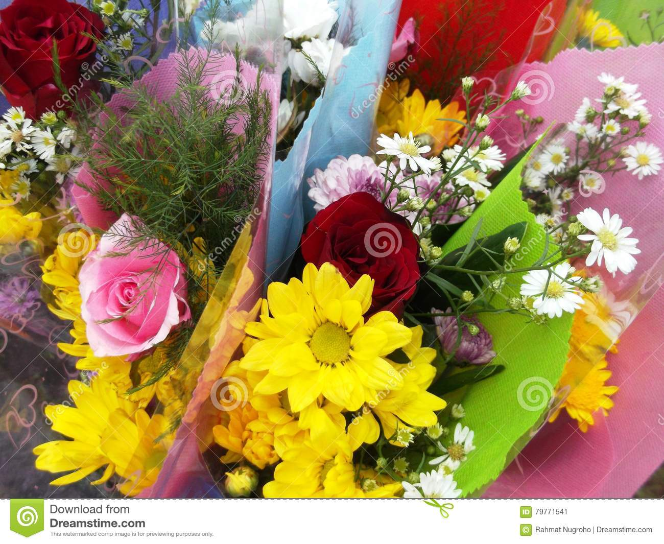 Wrapped Bouquets Of Flowers Stock Image Image Of Various Bouquet