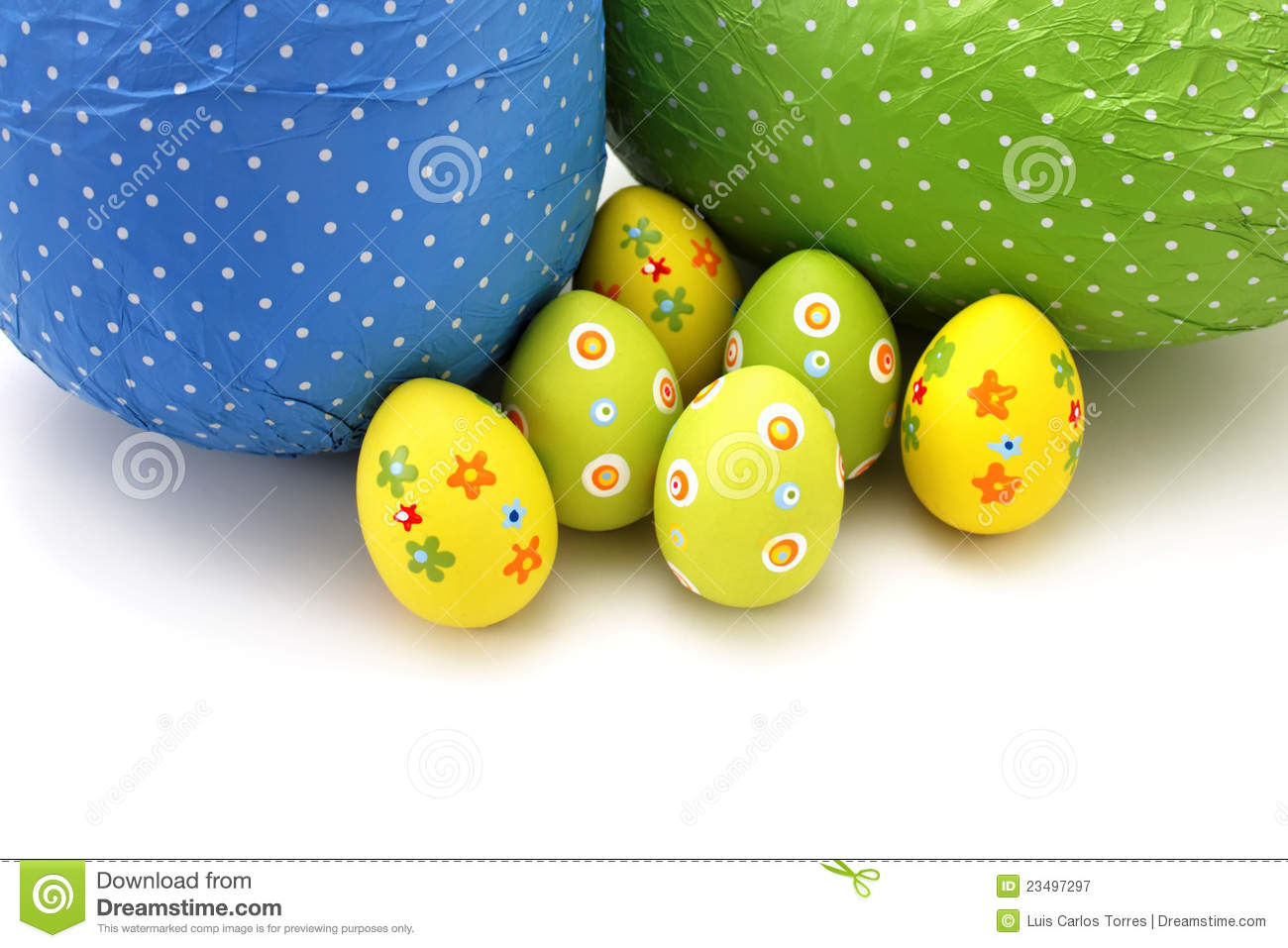 Download Wrapped Chocolate Easter Eggs From Top Stock Image - Image of green, body: 23497297