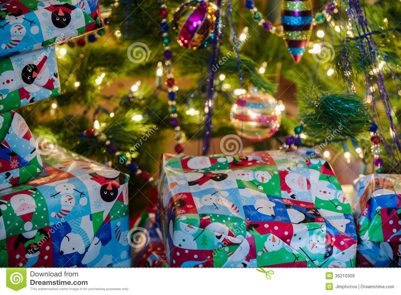 Wrapped Christmas Gifts Under The Tree Stock Image - Image of ...