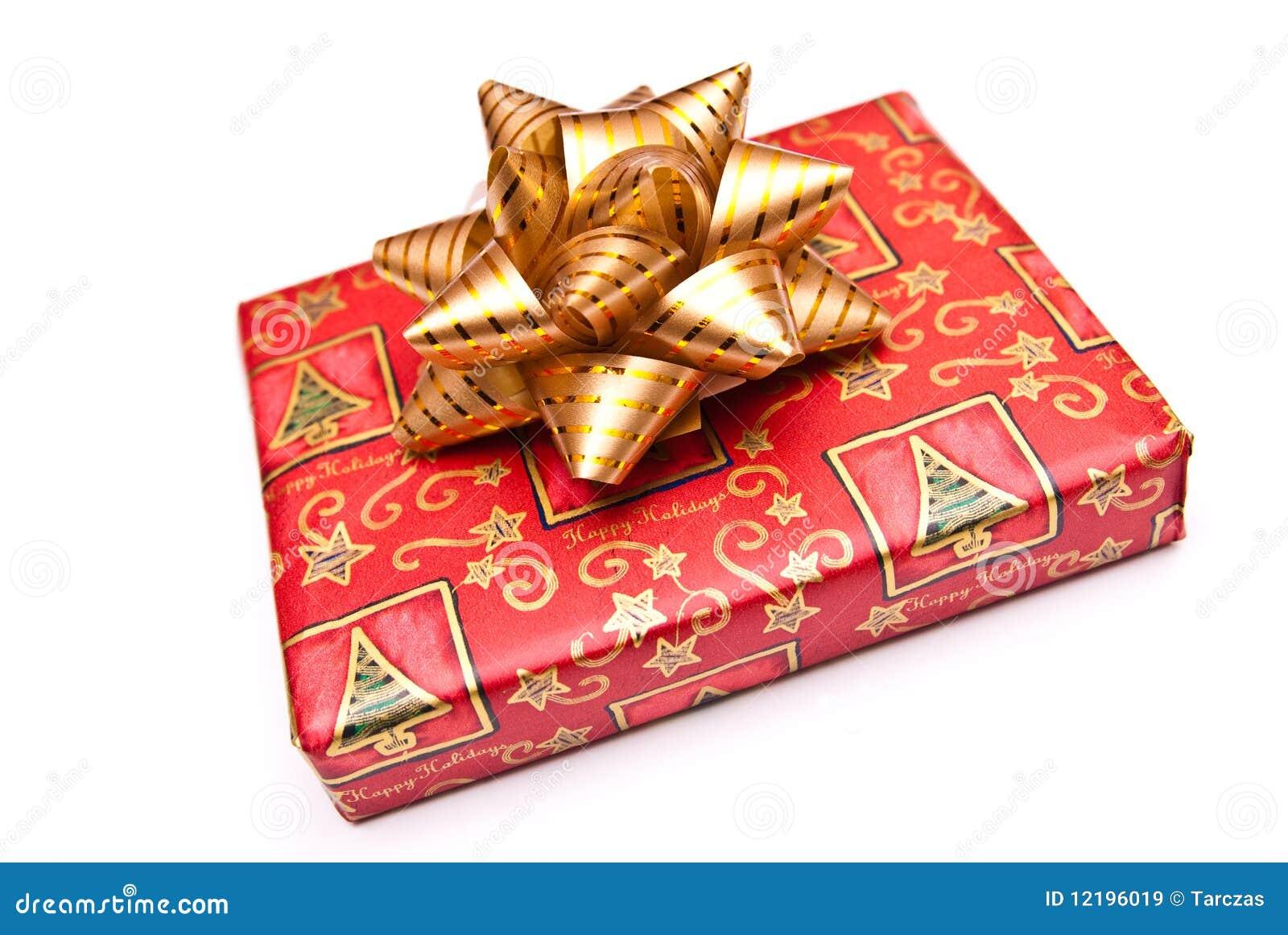 Wrapped christmas present stock image of seasonal