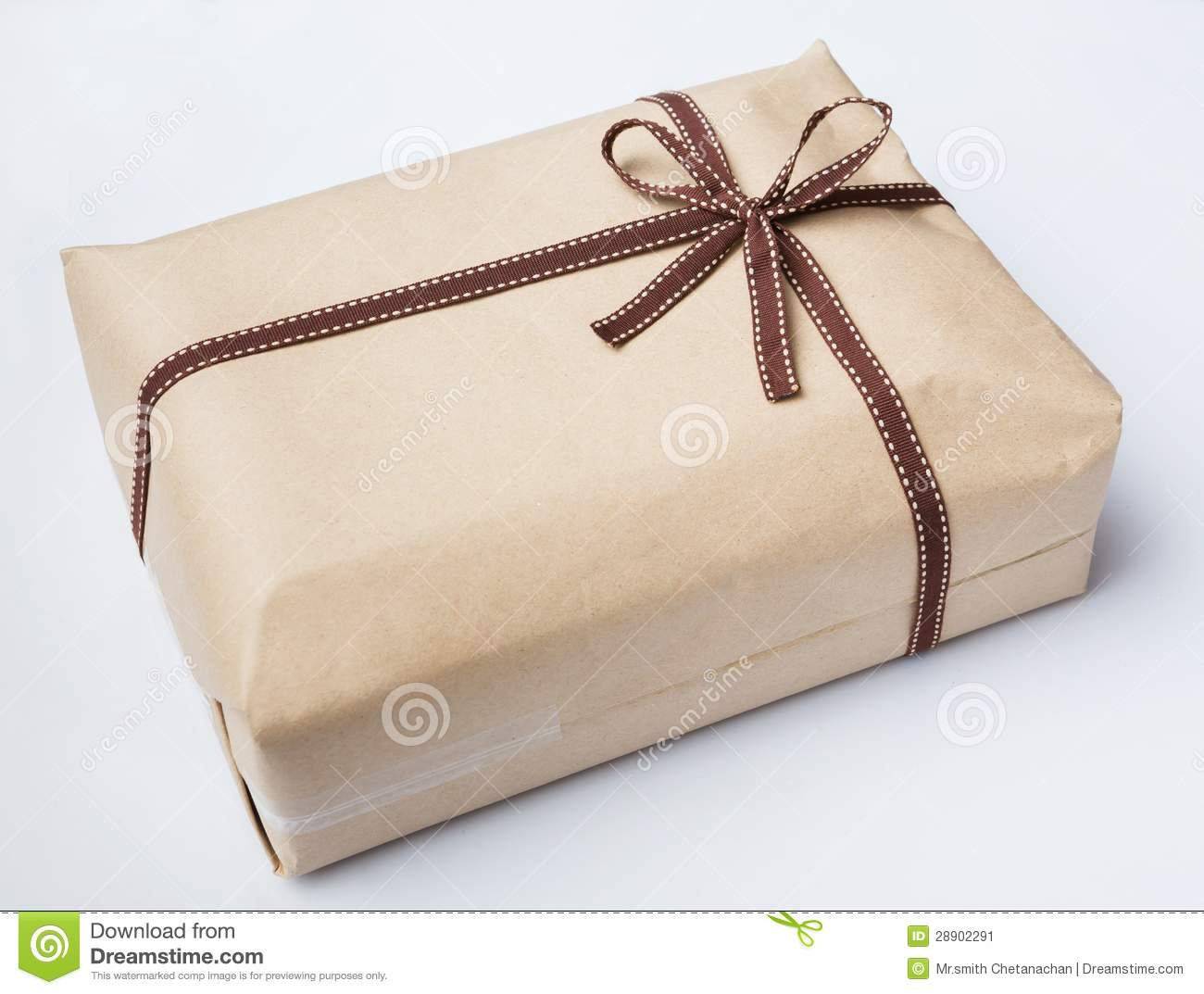 Box gift with bow on rope royalty free stock image