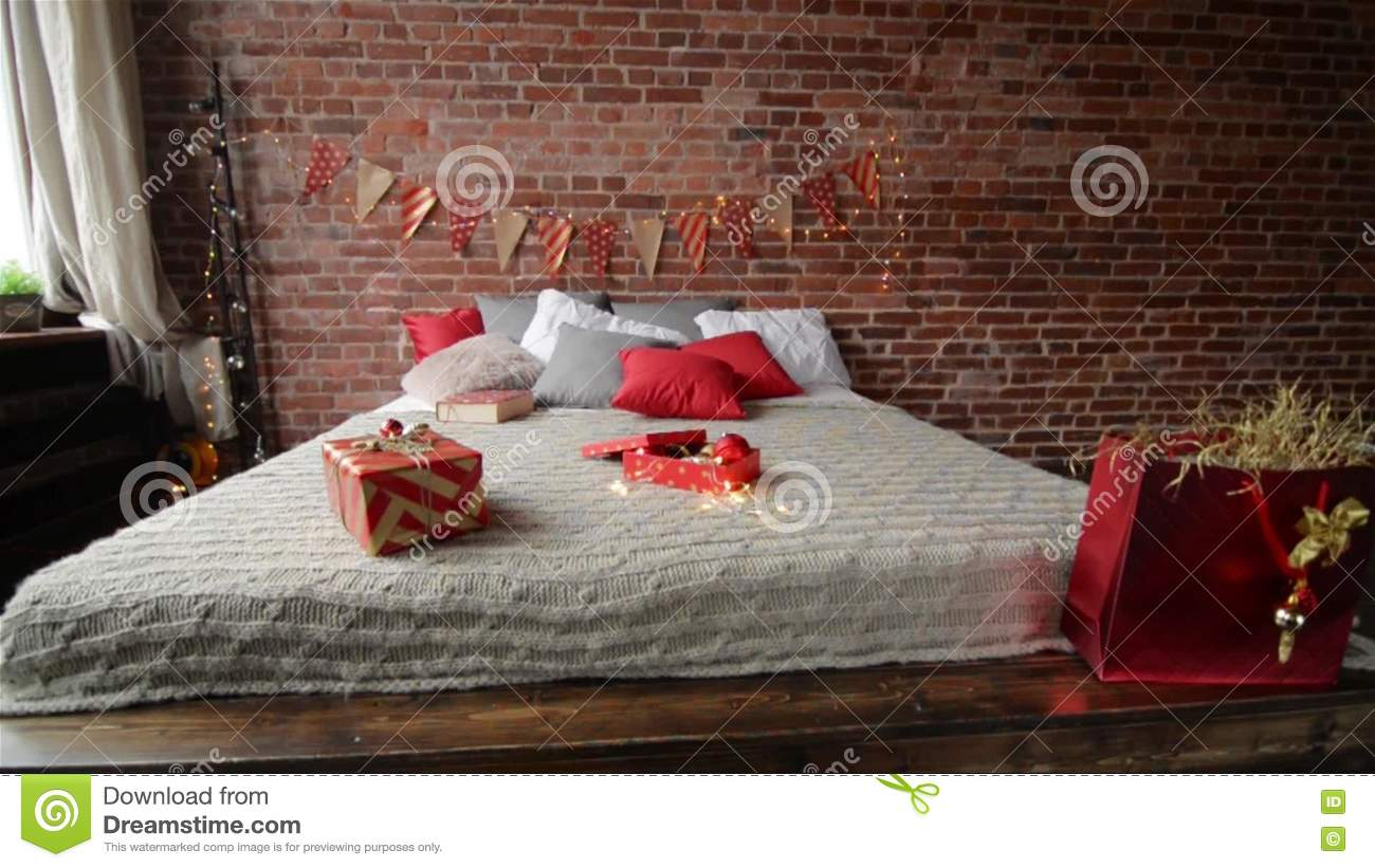 Wrapped Presents On A Bed In Hotel Room In The Morning Christmas Gifts In  The Bedroom. Gifts For Bedroom   cpgworkflow com