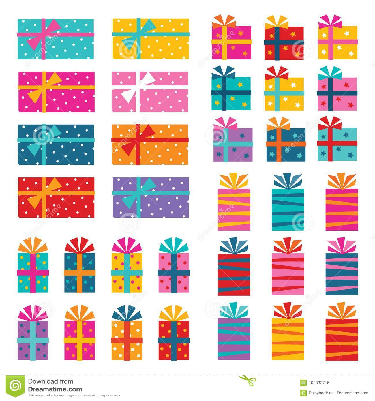 Illustrated set of colorful gift wrapped presents isolated on white