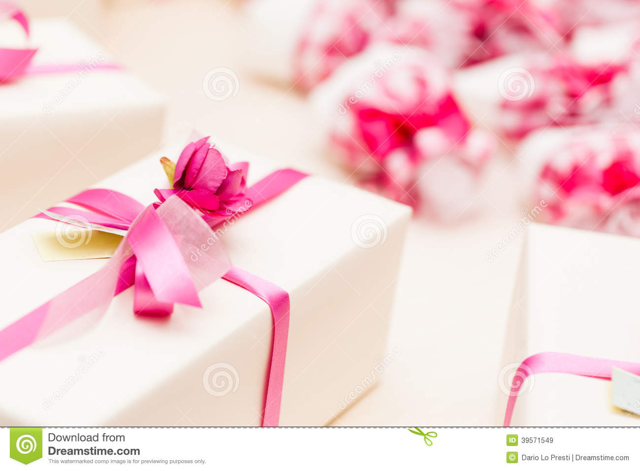Wrapped Wedding gifts stock image. Image of event, closeup - 39571549