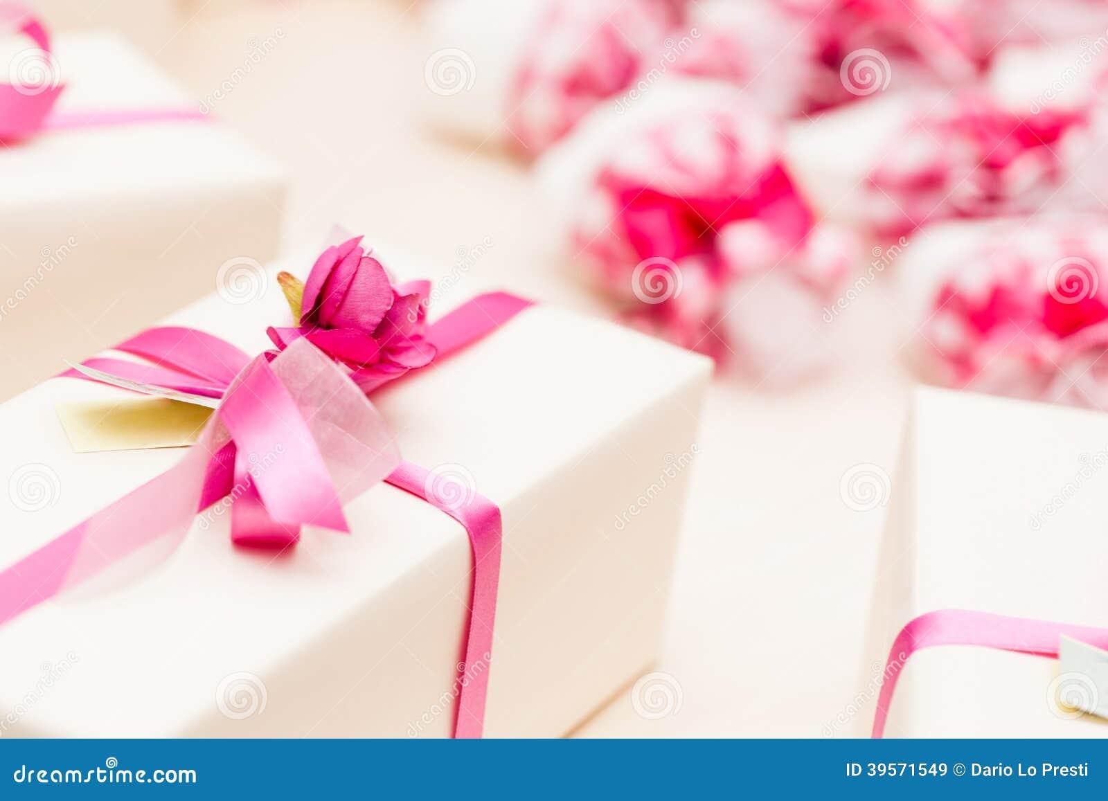 Beautiful Wedding Gifts: Wrapped Wedding Gifts Stock Photo