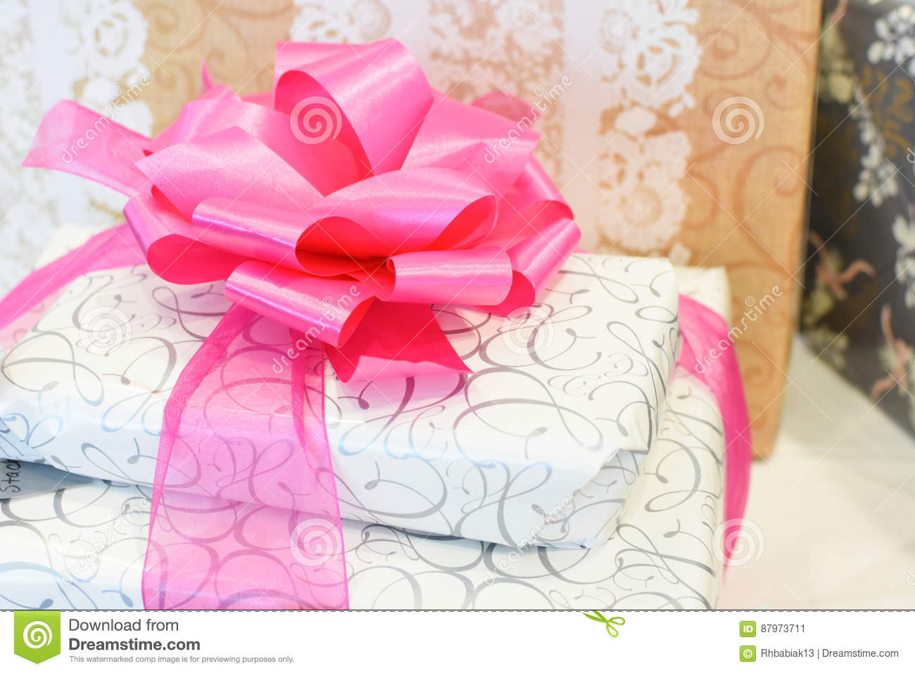 Wrapped Wedding Gifts stock image. Image of curling, bridal - 87973711
