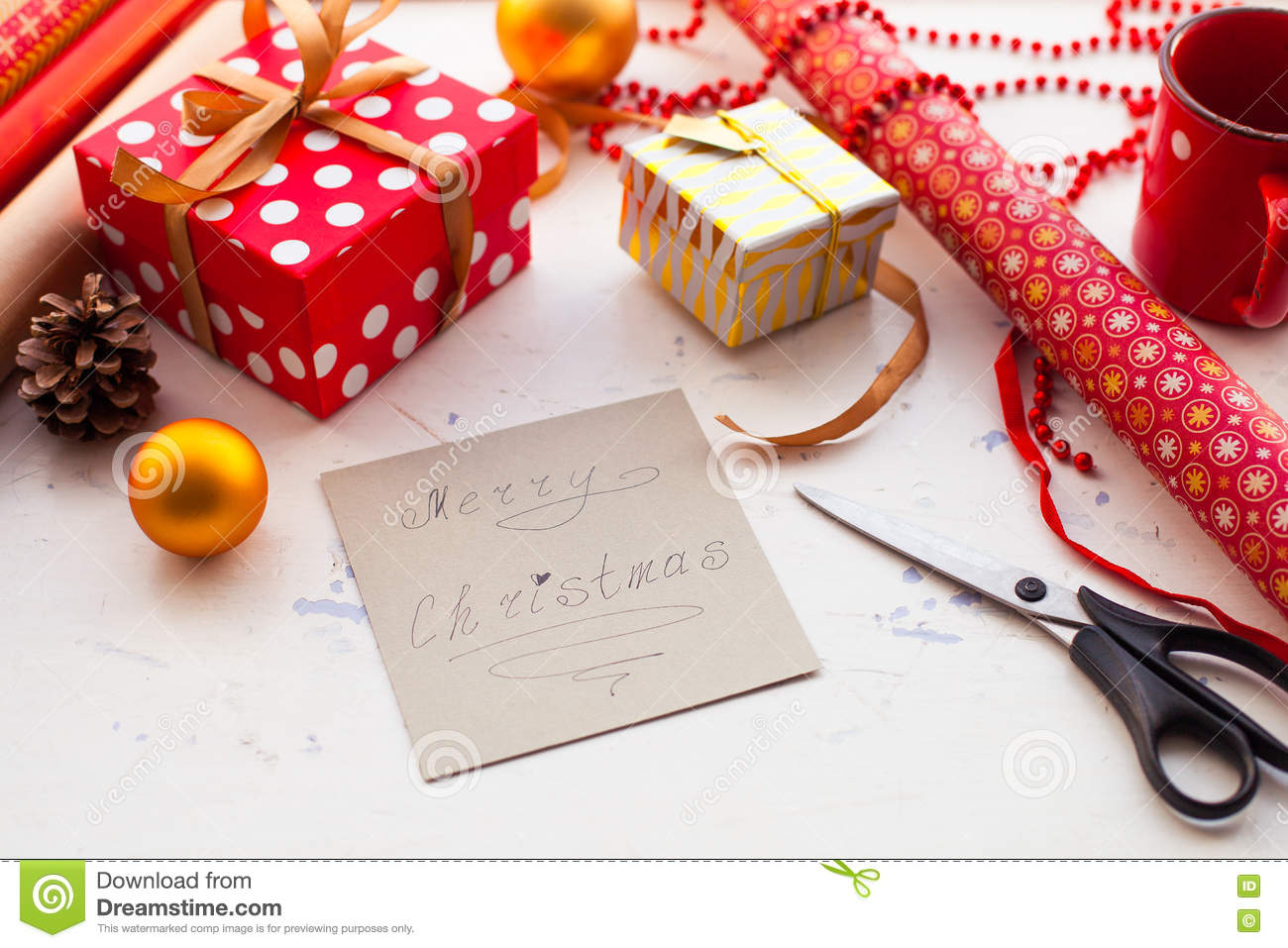 Wrapping Christmas Gift - Preparation. Accessories On Wooden Whi ...