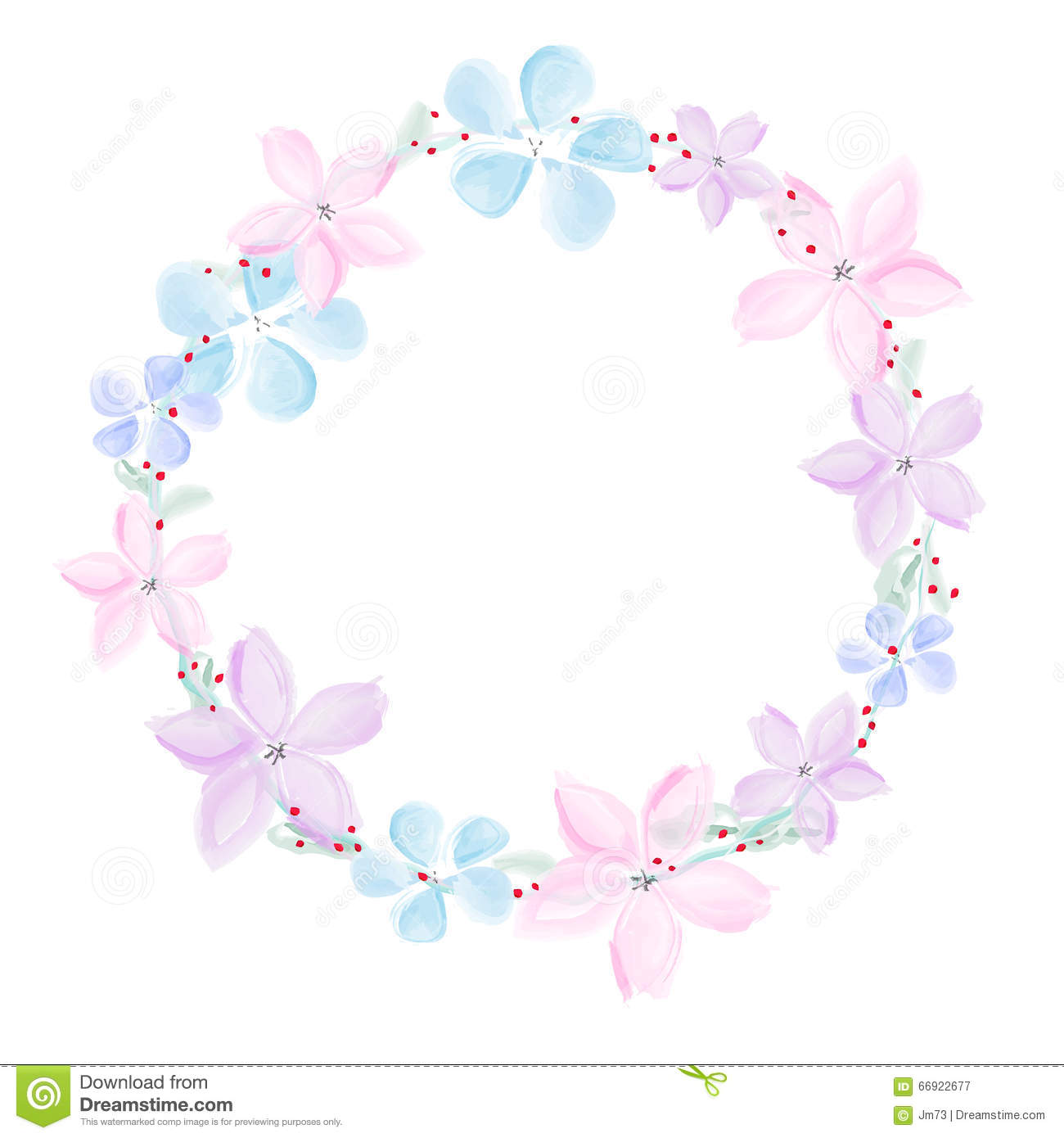 Wreath Of Abstract Watercolor Flowers On White Background Stock