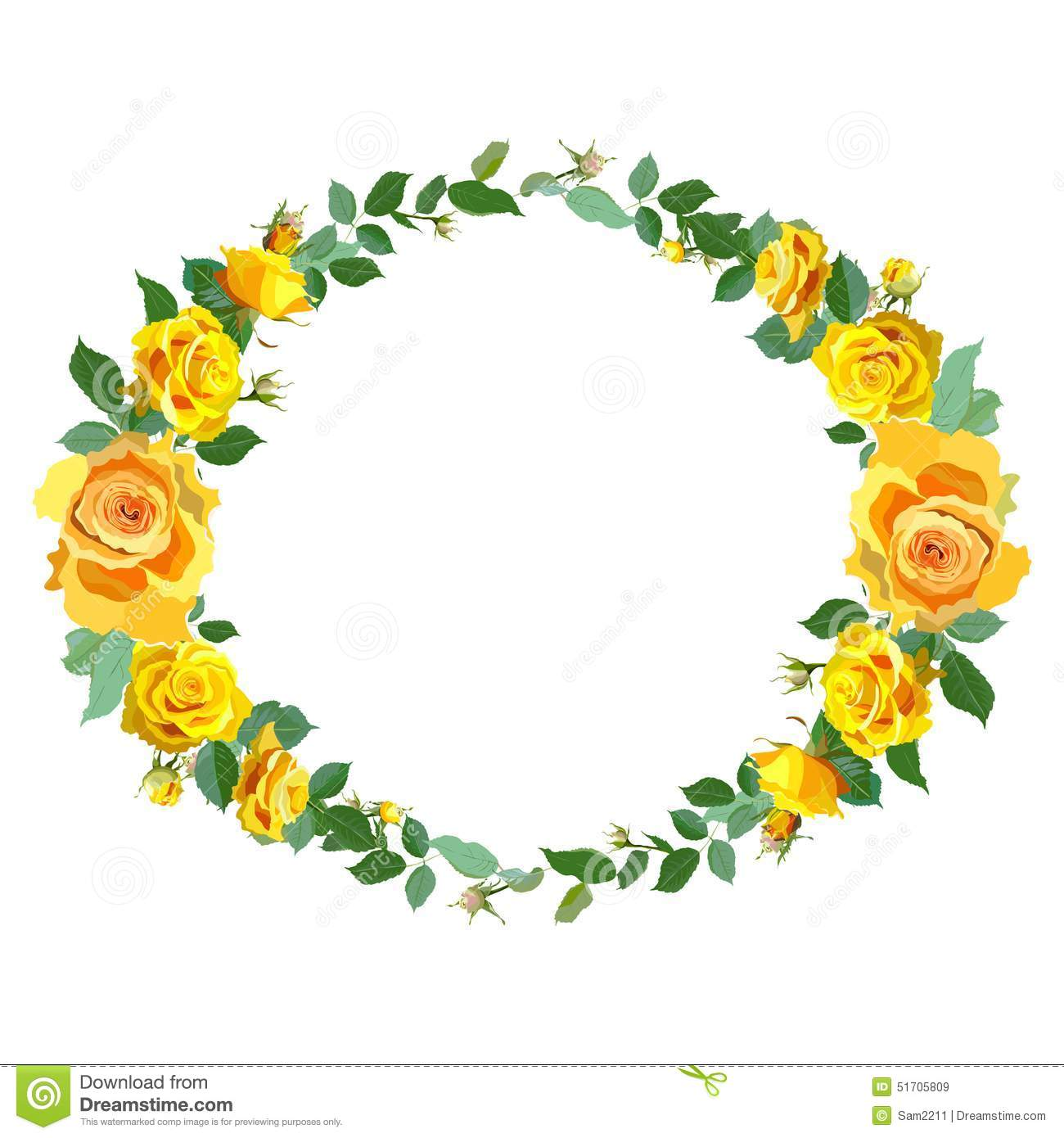 Wallpaper Of Yellow Rose: Wreath Background With Yellow Roses. Stock Vector