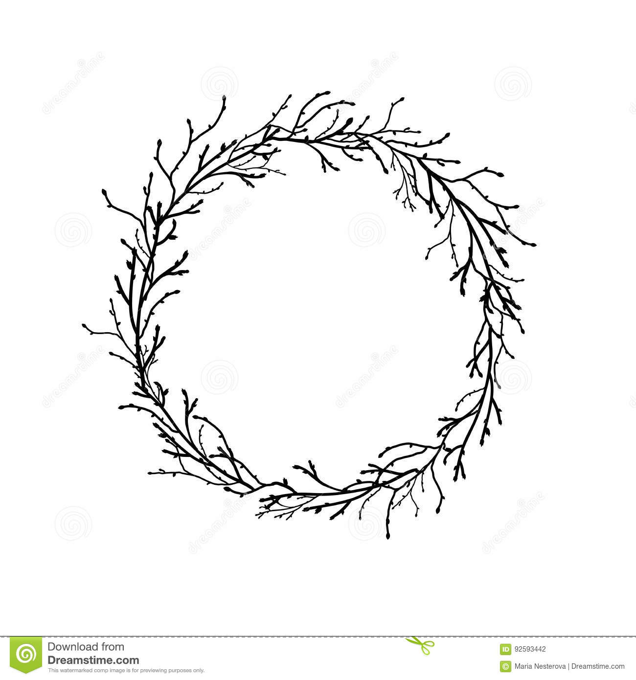 Wreath From Black Branches And Twigs Stock Vector Illustration Of January Vector 92593442