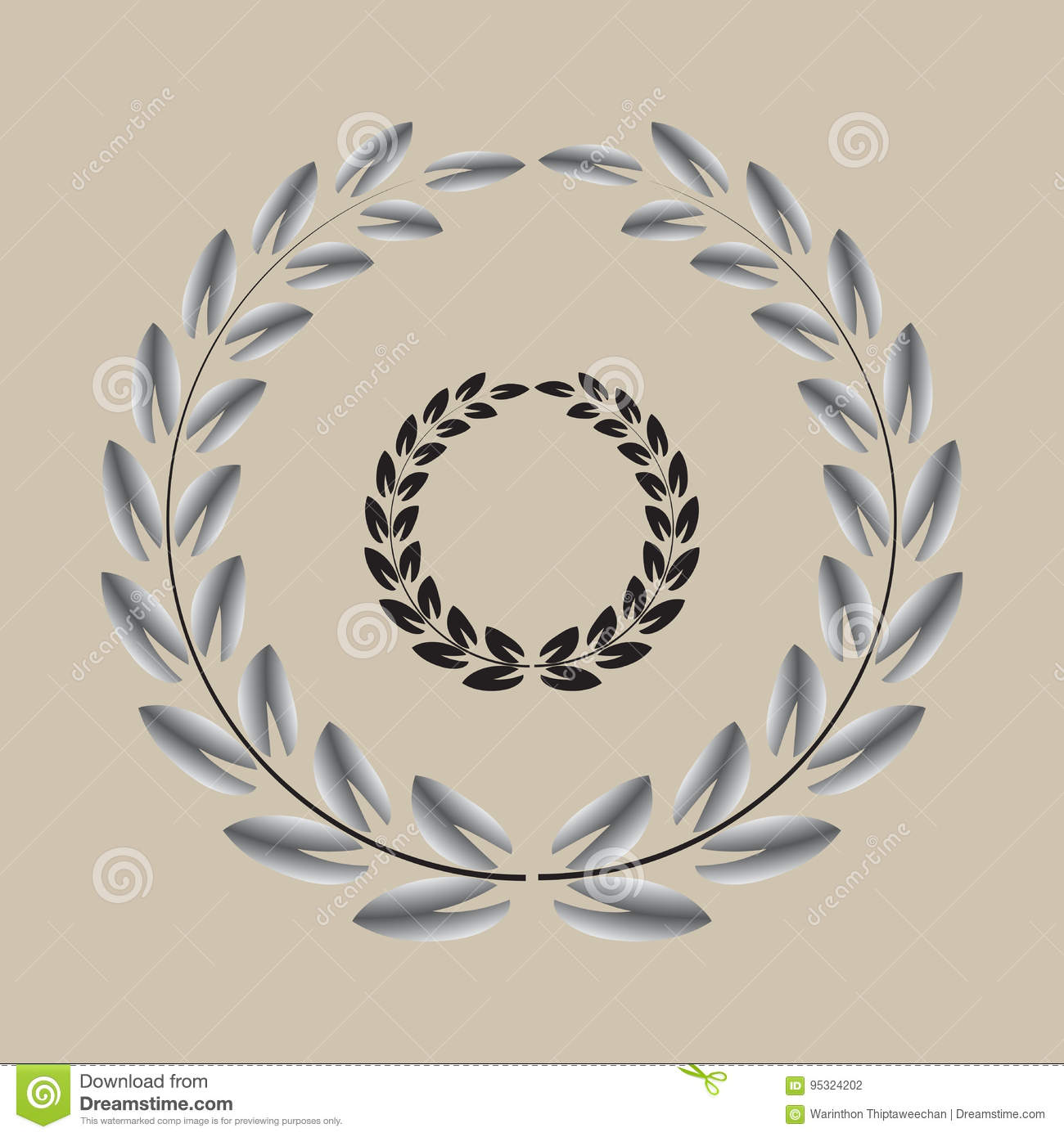 Wreath Black And Silver Small Pointy Tip Leaf Set Stock Vector Illustration Of Laurel Abstract 95324202