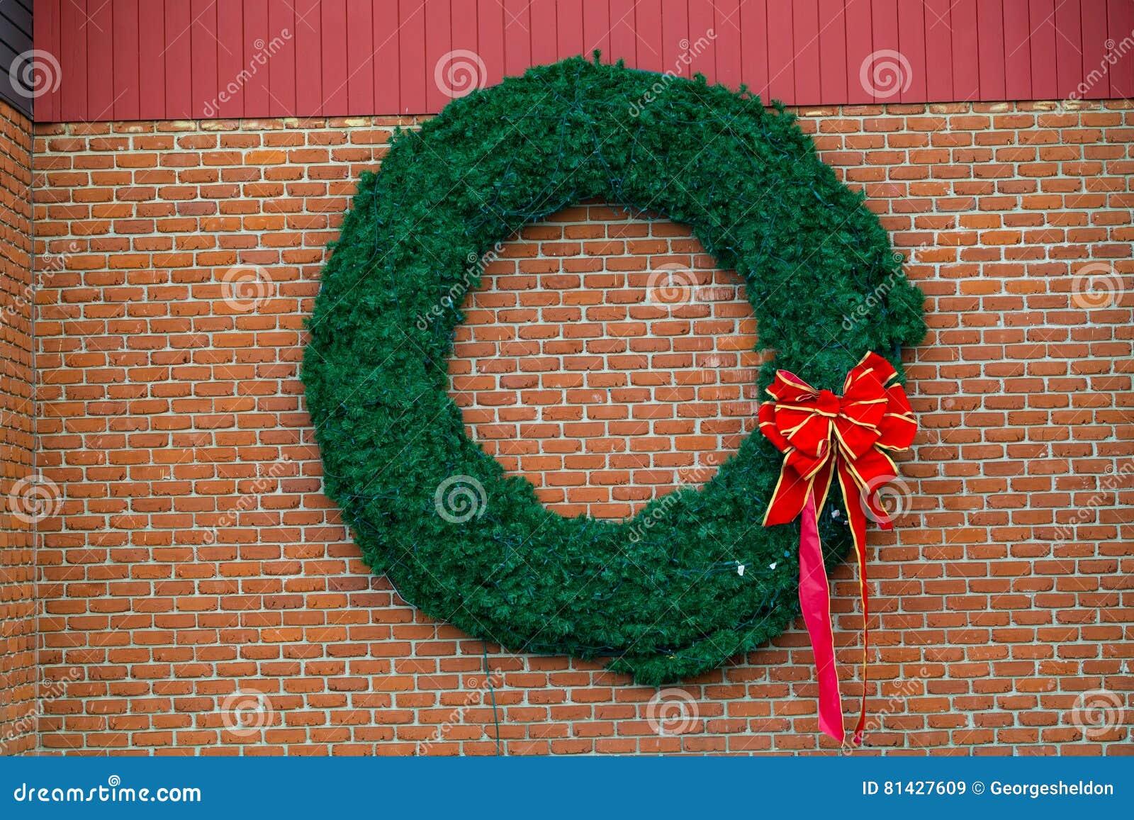 wreath on a brick wall
