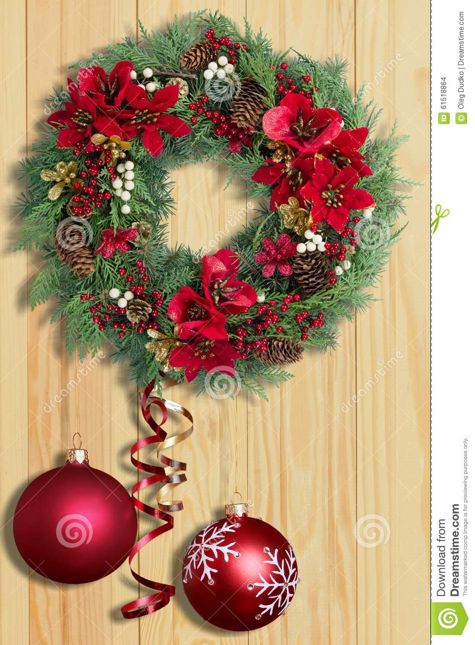 Wreath stock photo image 61518864 for 5ft poinsettia garland christmas decoration