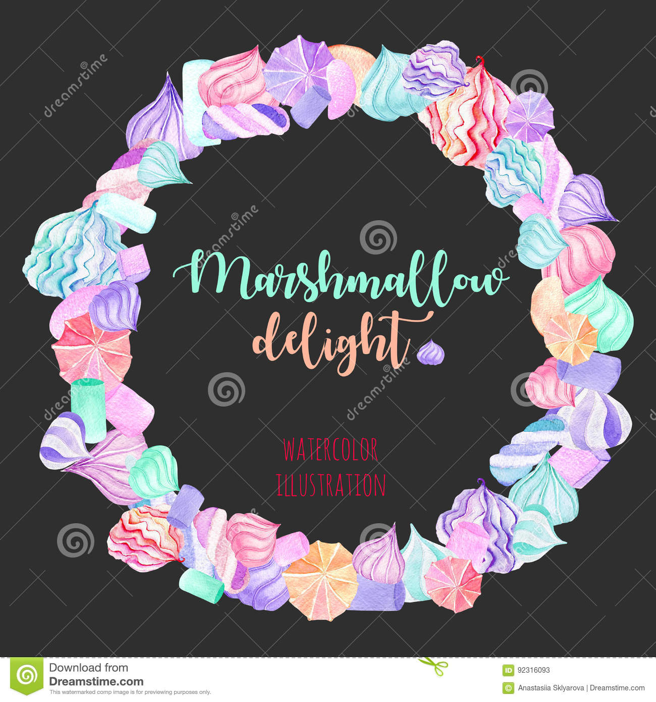 Wreath Circle Frame With Watercolor Marshmallow Stock Illustration